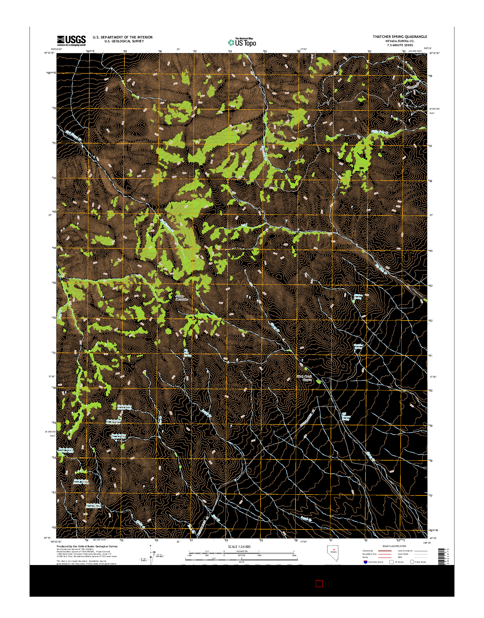 USGS US TOPO 7.5-MINUTE MAP FOR THATCHER SPRING, NV 2014