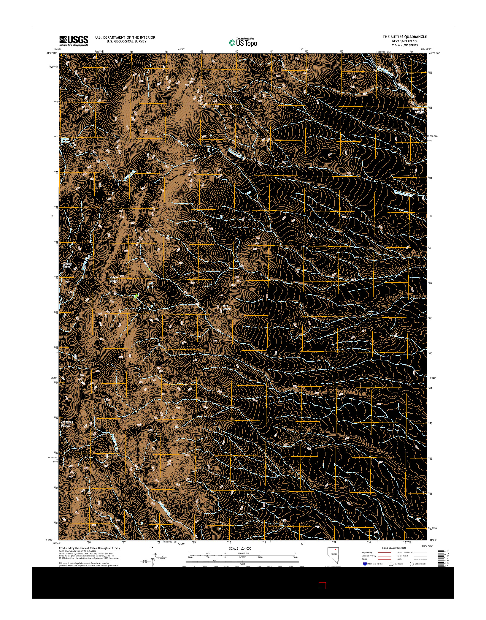 USGS US TOPO 7.5-MINUTE MAP FOR THE BUTTES, NV 2014