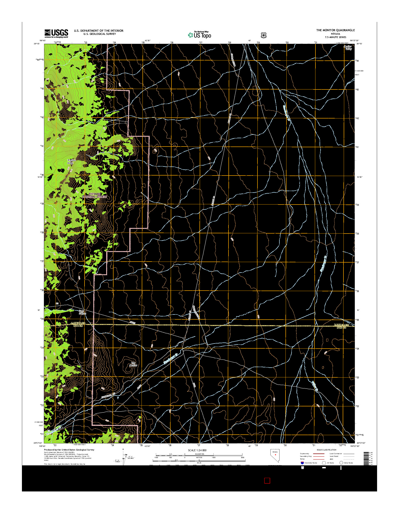 USGS US TOPO 7.5-MINUTE MAP FOR THE MONITOR, NV 2014