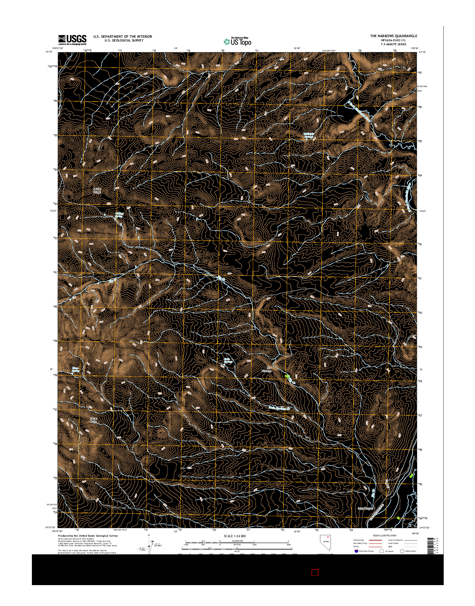 USGS US TOPO 7.5-MINUTE MAP FOR THE NARROWS, NV 2014