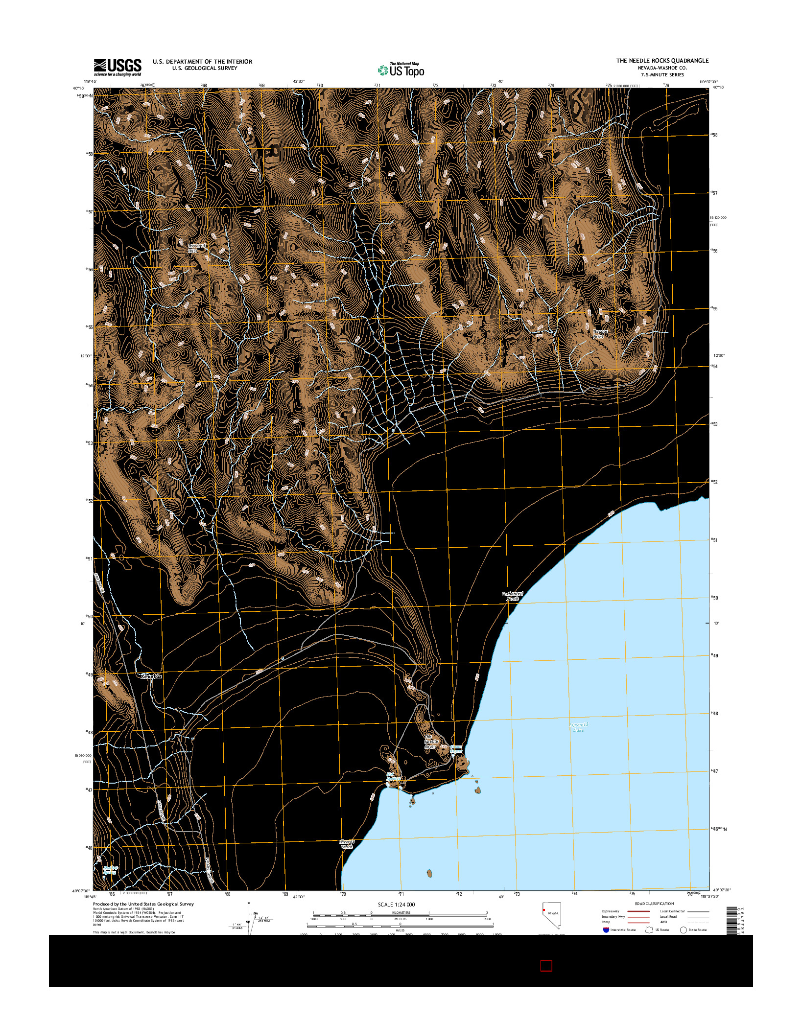 USGS US TOPO 7.5-MINUTE MAP FOR THE NEEDLE ROCKS, NV 2014
