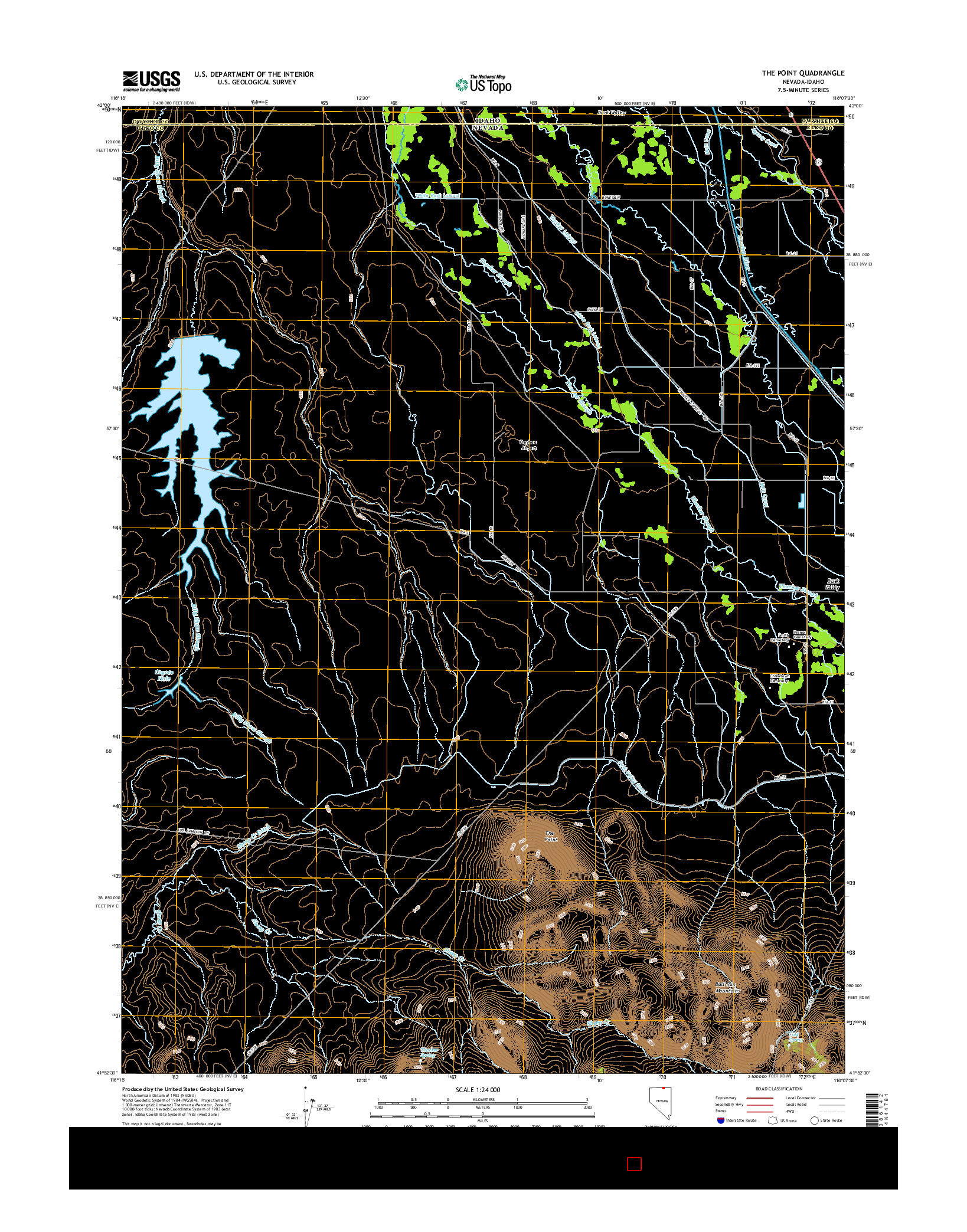 USGS US TOPO 7.5-MINUTE MAP FOR THE POINT, NV-ID 2014