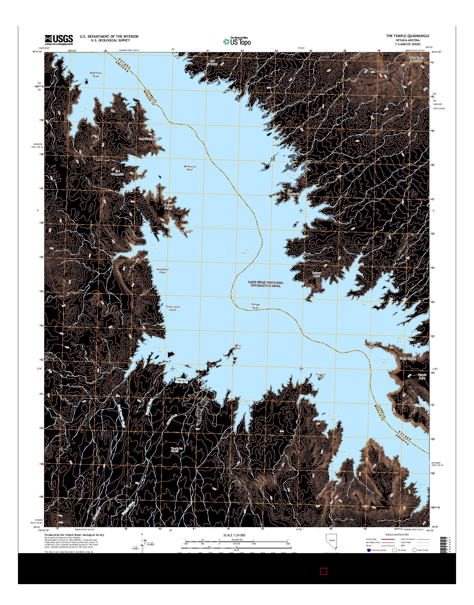 USGS US TOPO 7.5-MINUTE MAP FOR THE TEMPLE, NV-AZ 2014