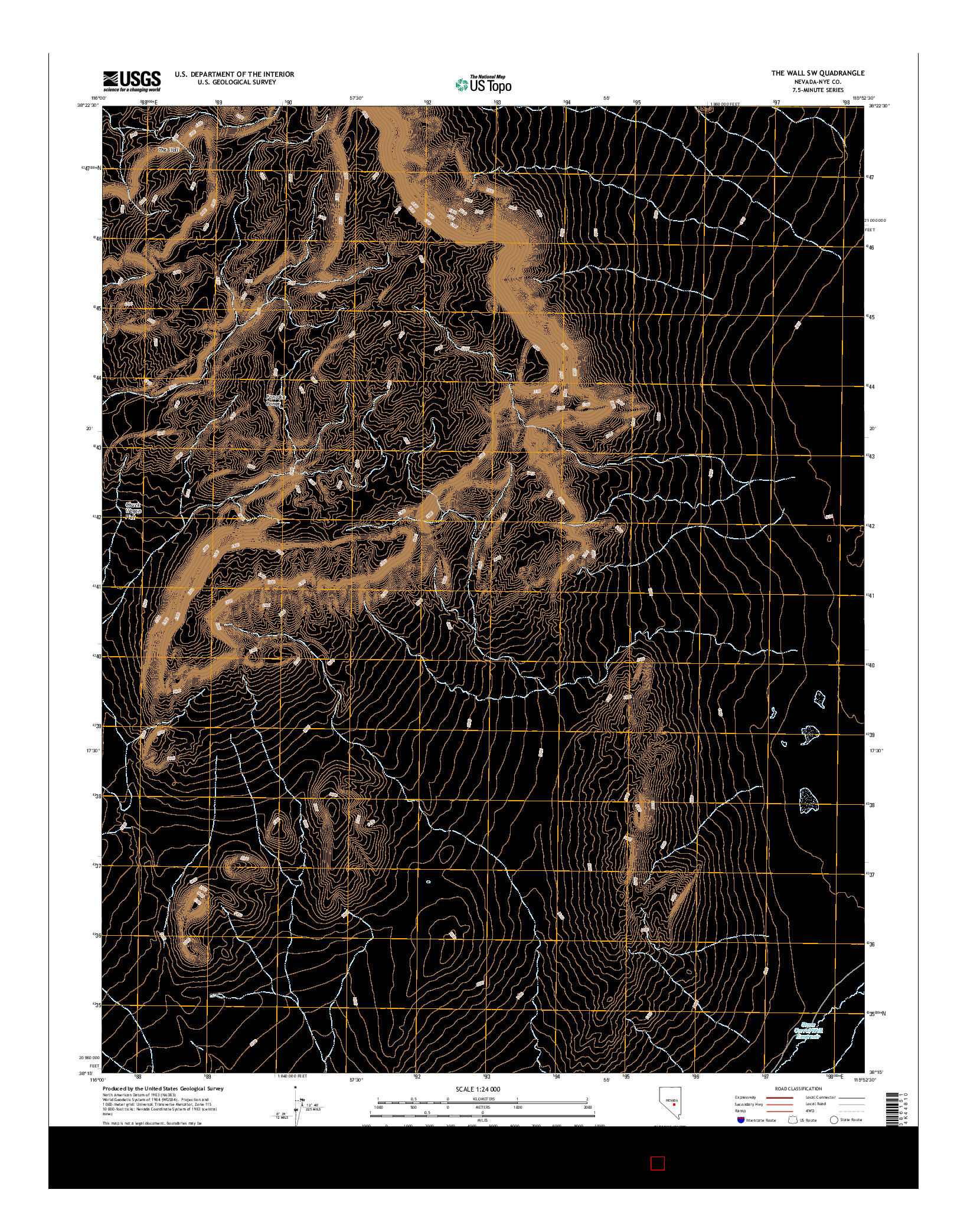 USGS US TOPO 7.5-MINUTE MAP FOR THE WALL SW, NV 2014