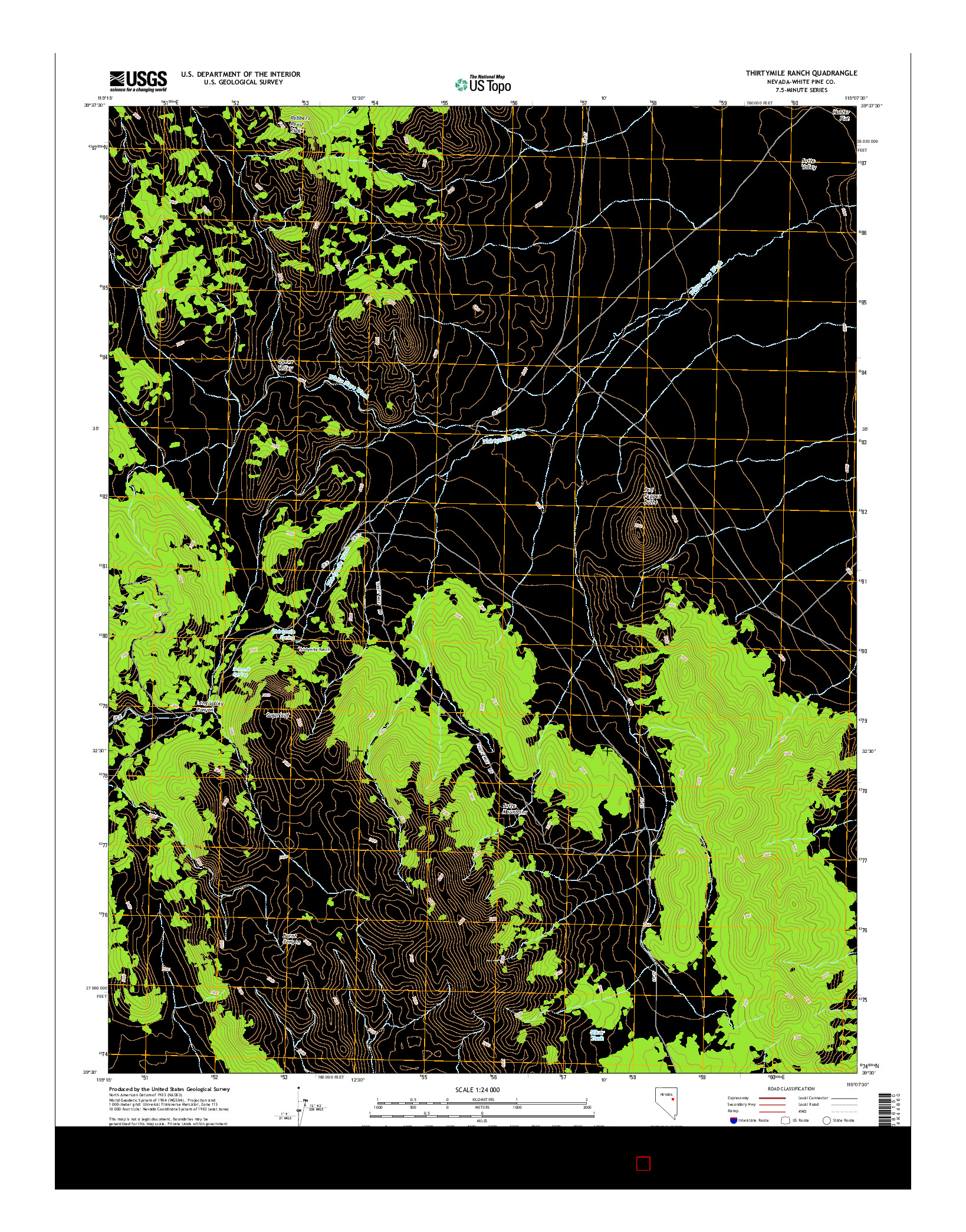 USGS US TOPO 7.5-MINUTE MAP FOR THIRTYMILE RANCH, NV 2014
