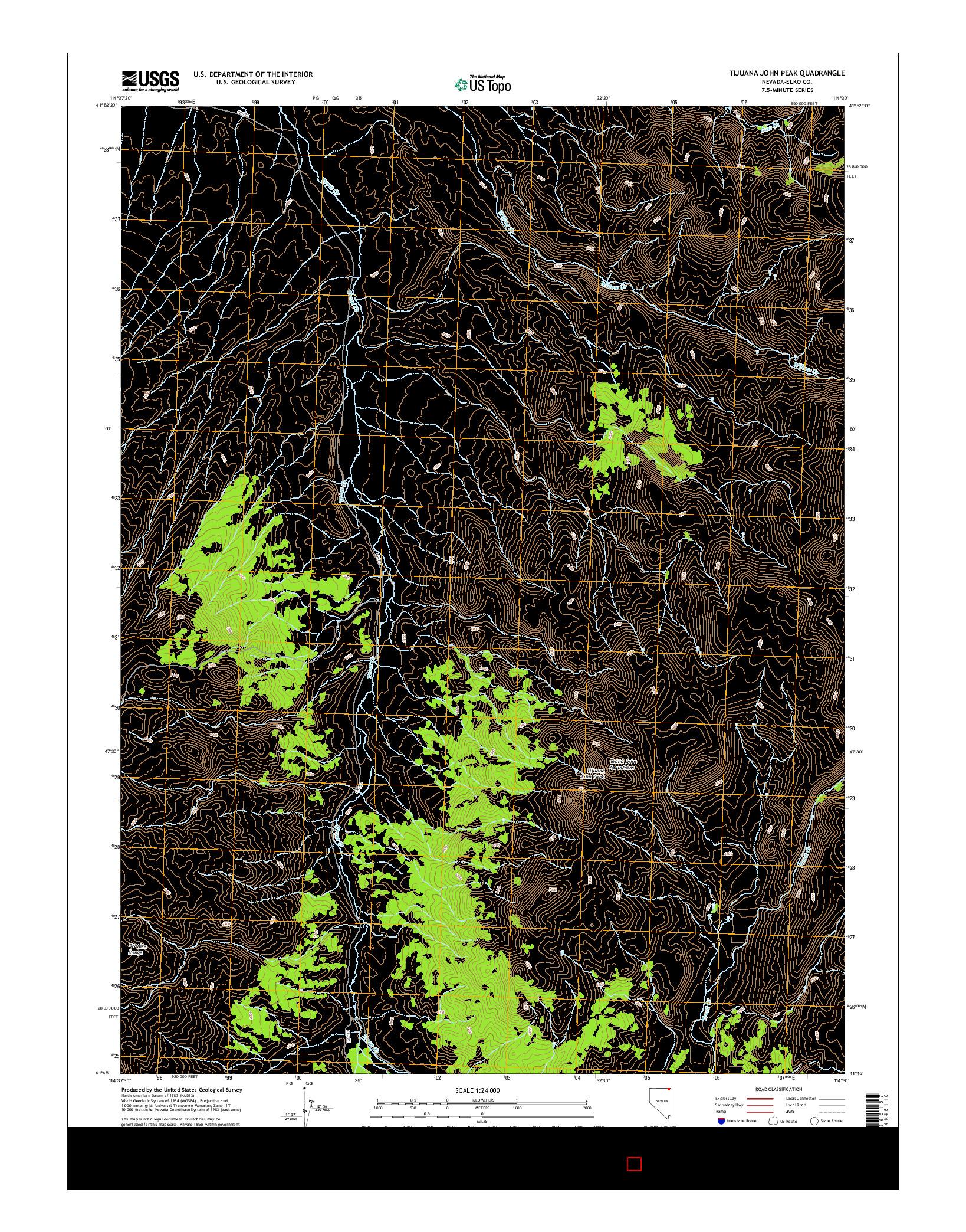 USGS US TOPO 7.5-MINUTE MAP FOR TIJUANA JOHN PEAK, NV 2014