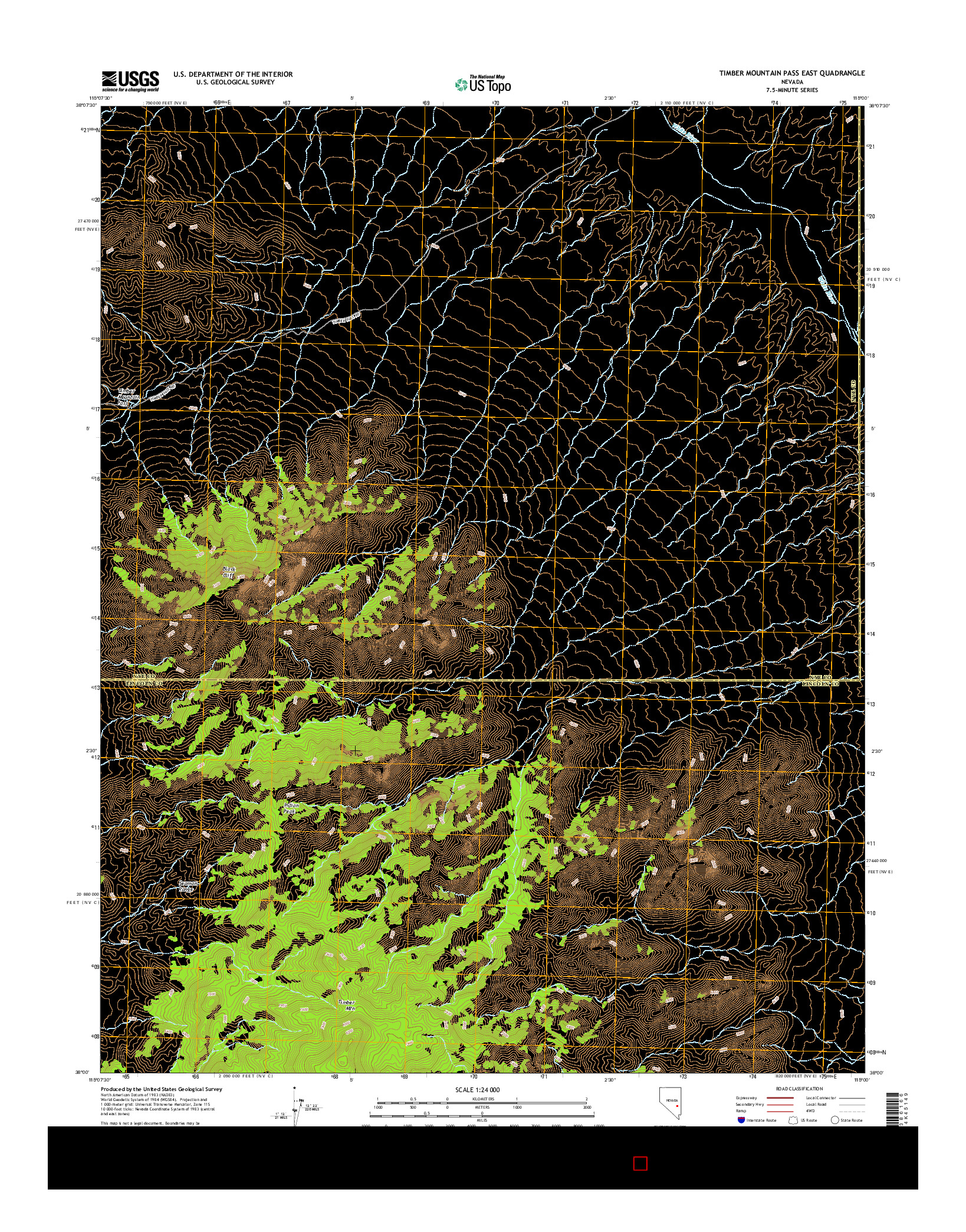 USGS US TOPO 7.5-MINUTE MAP FOR TIMBER MOUNTAIN PASS EAST, NV 2014