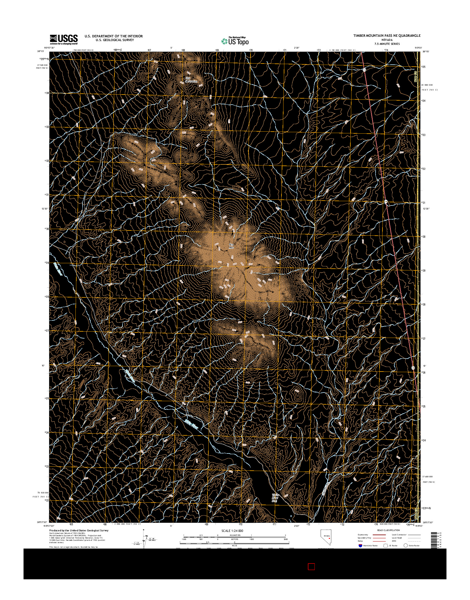 USGS US TOPO 7.5-MINUTE MAP FOR TIMBER MOUNTAIN PASS NE, NV 2014