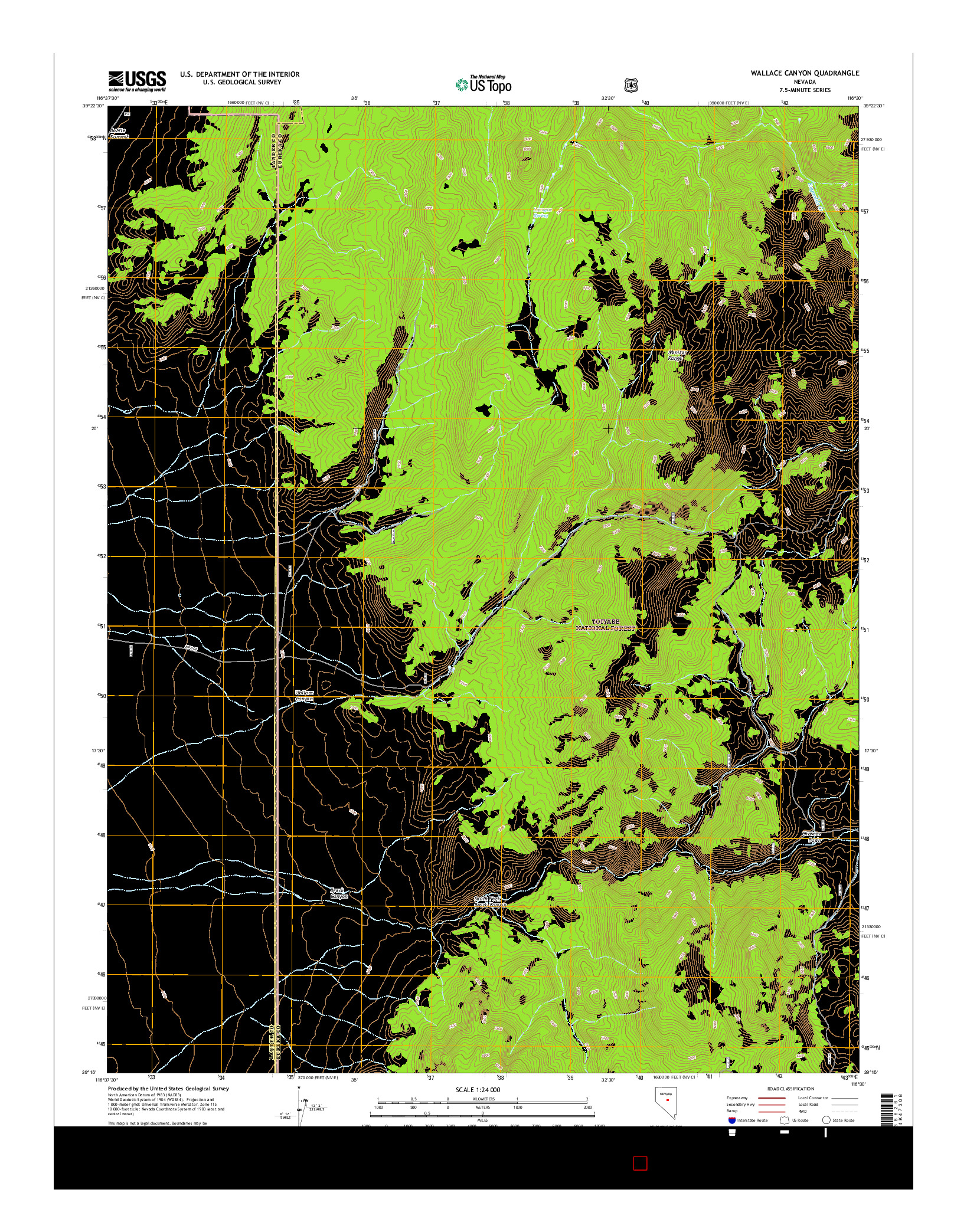 USGS US TOPO 7.5-MINUTE MAP FOR WALLACE CANYON, NV 2014