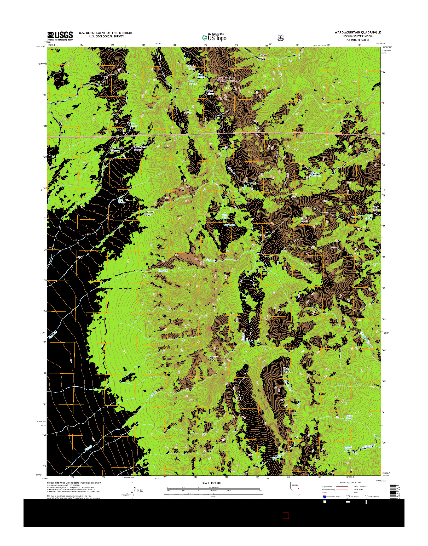USGS US TOPO 7.5-MINUTE MAP FOR WARD MOUNTAIN, NV 2014