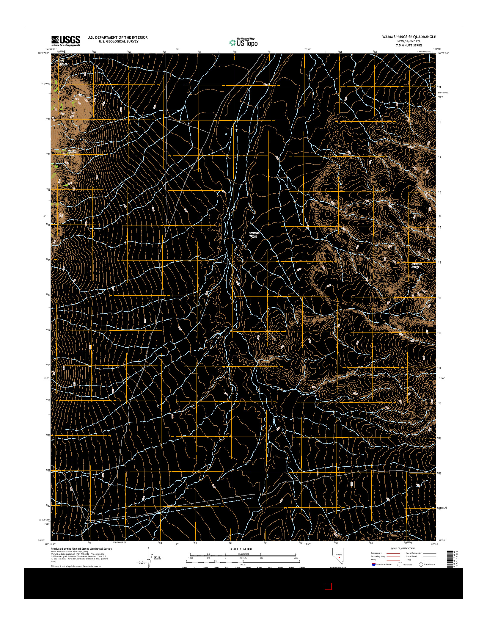USGS US TOPO 7.5-MINUTE MAP FOR WARM SPRINGS SE, NV 2014
