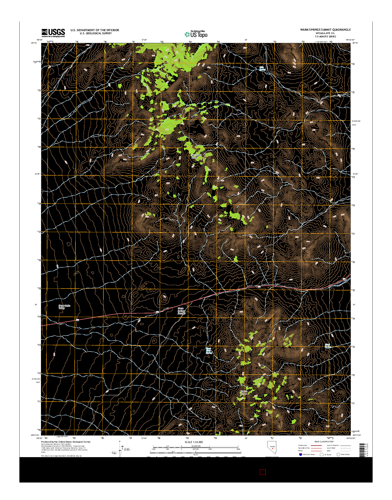 USGS US TOPO 7.5-MINUTE MAP FOR WARM SPRINGS SUMMIT, NV 2014