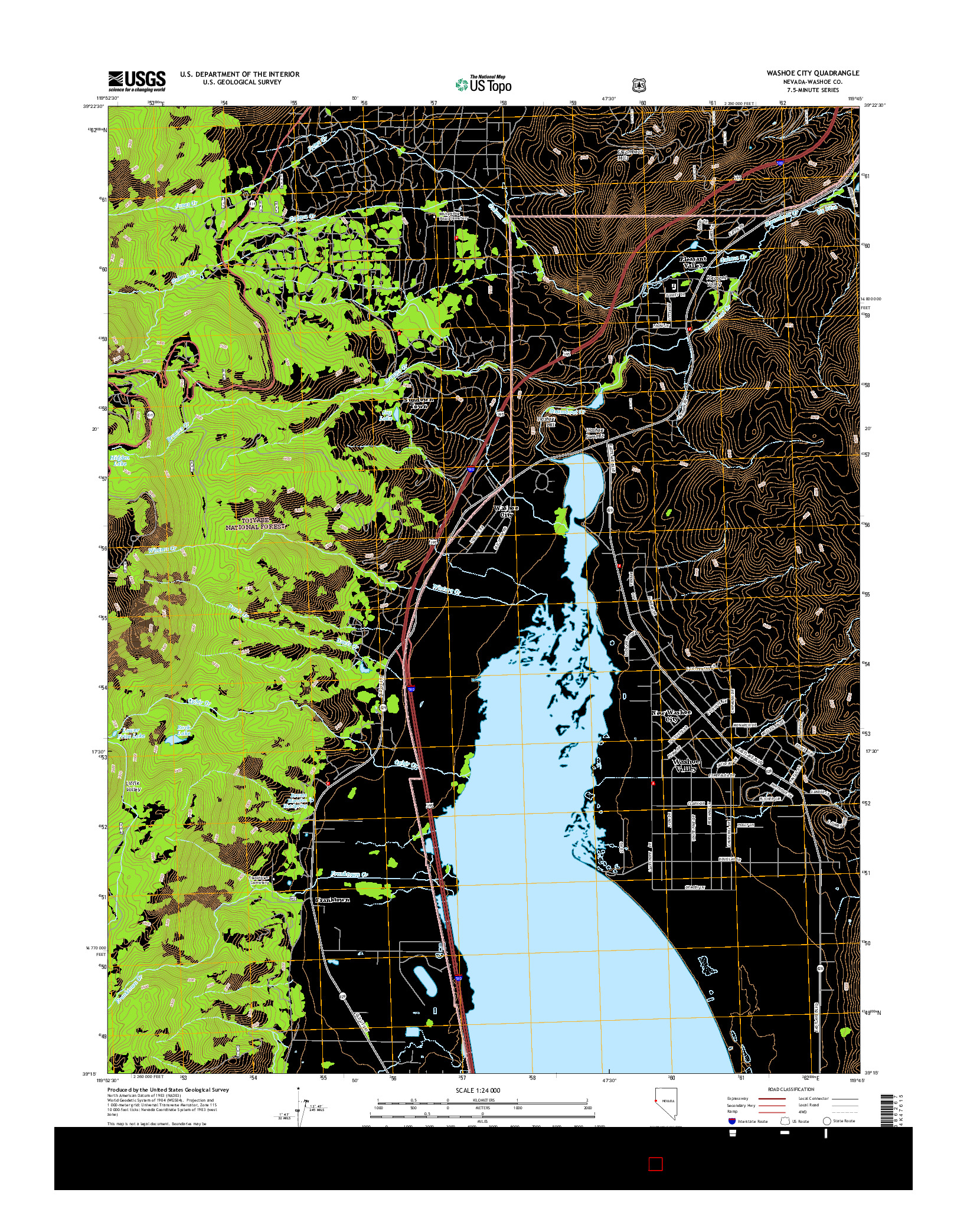 USGS US TOPO 7.5-MINUTE MAP FOR WASHOE CITY, NV 2014