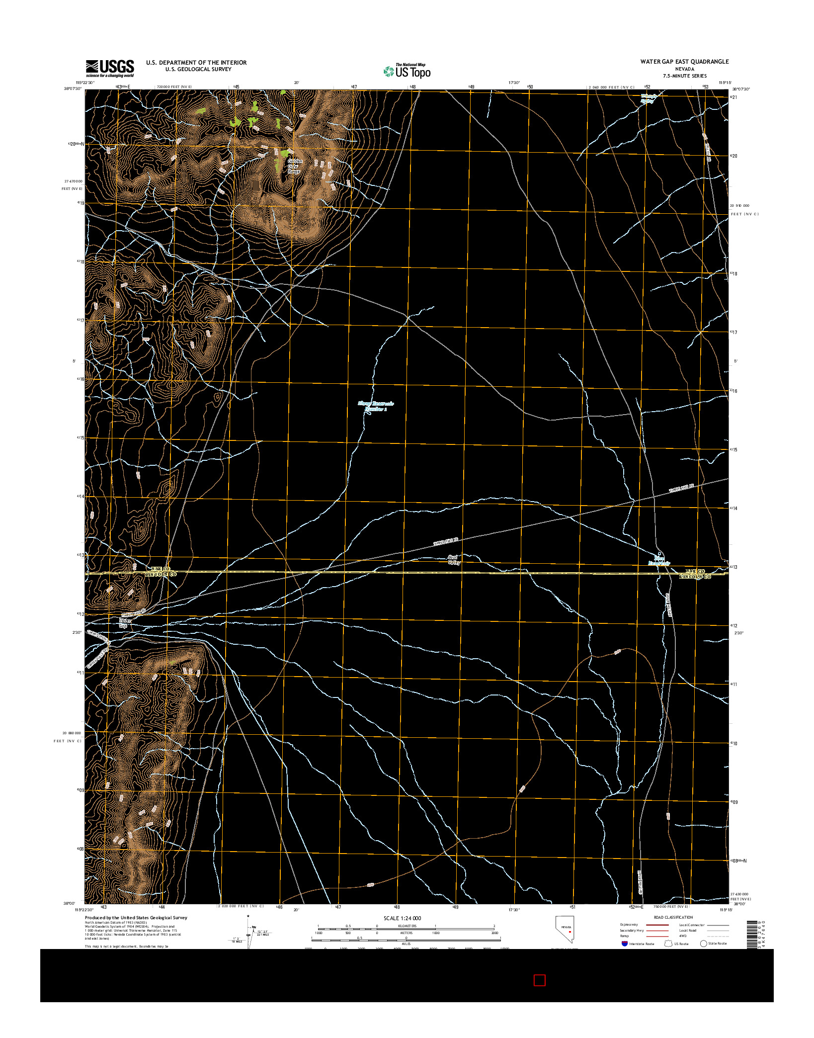 USGS US TOPO 7.5-MINUTE MAP FOR WATER GAP EAST, NV 2014