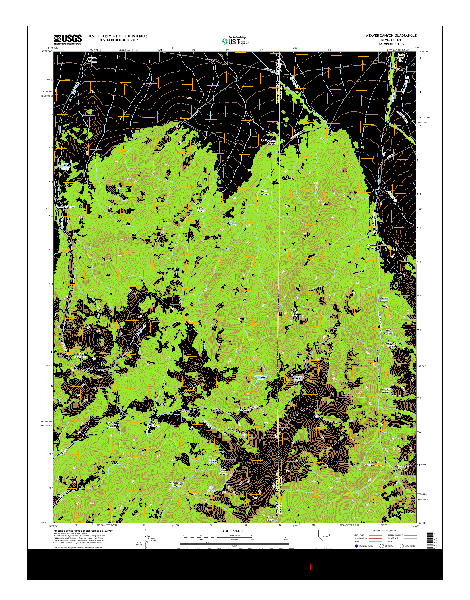 USGS US TOPO 7.5-MINUTE MAP FOR WEAVER CANYON, NV-UT 2014