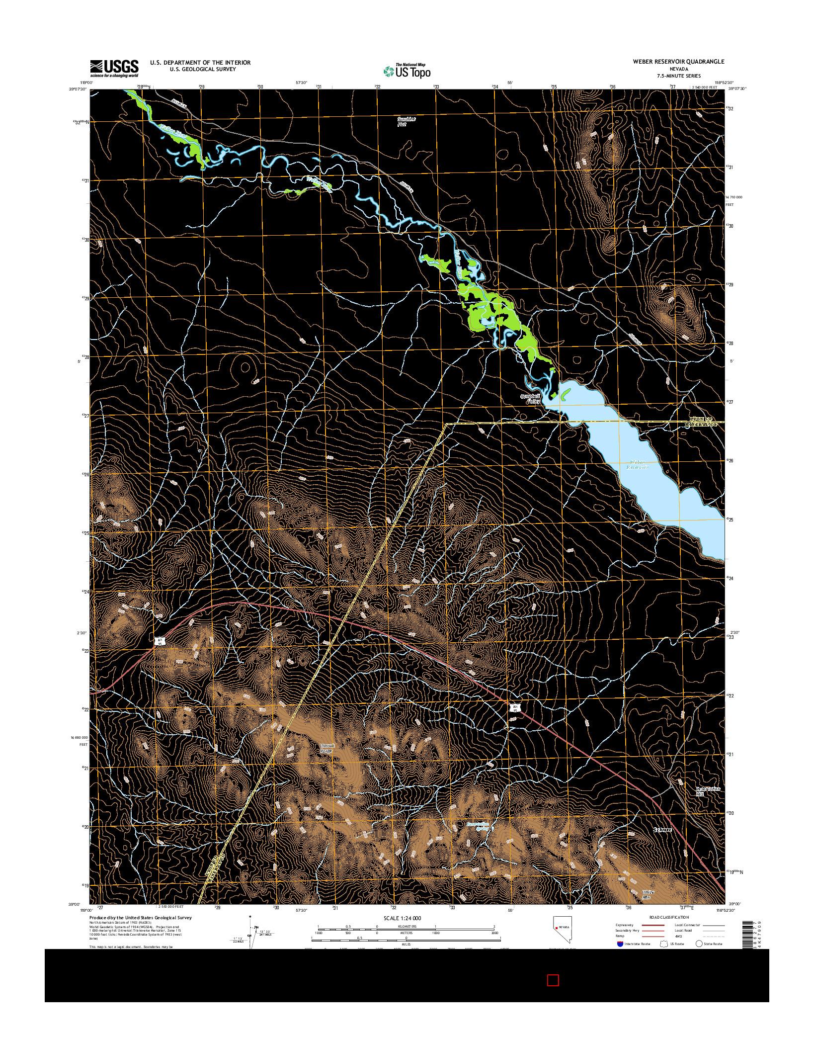 USGS US TOPO 7.5-MINUTE MAP FOR WEBER RESERVOIR, NV 2014