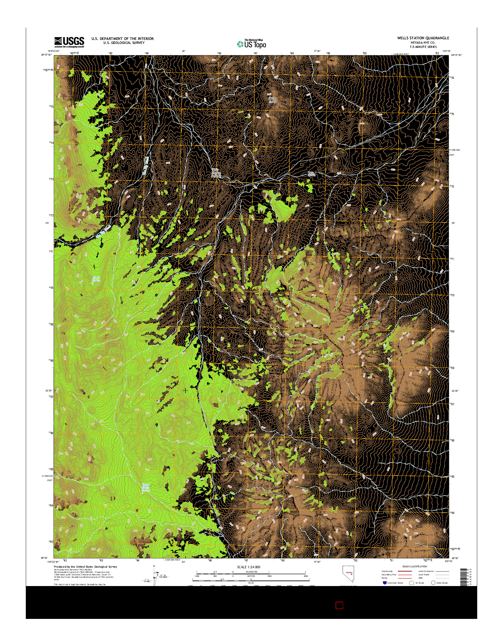 USGS US TOPO 7.5-MINUTE MAP FOR WELLS STATION, NV 2014