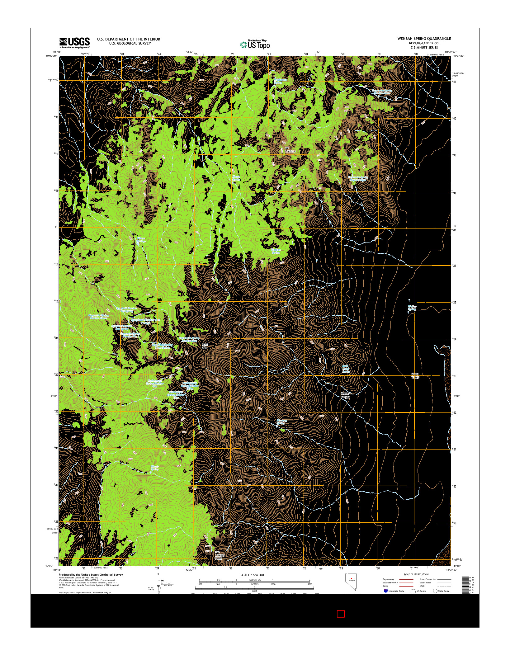 USGS US TOPO 7.5-MINUTE MAP FOR WENBAN SPRING, NV 2014