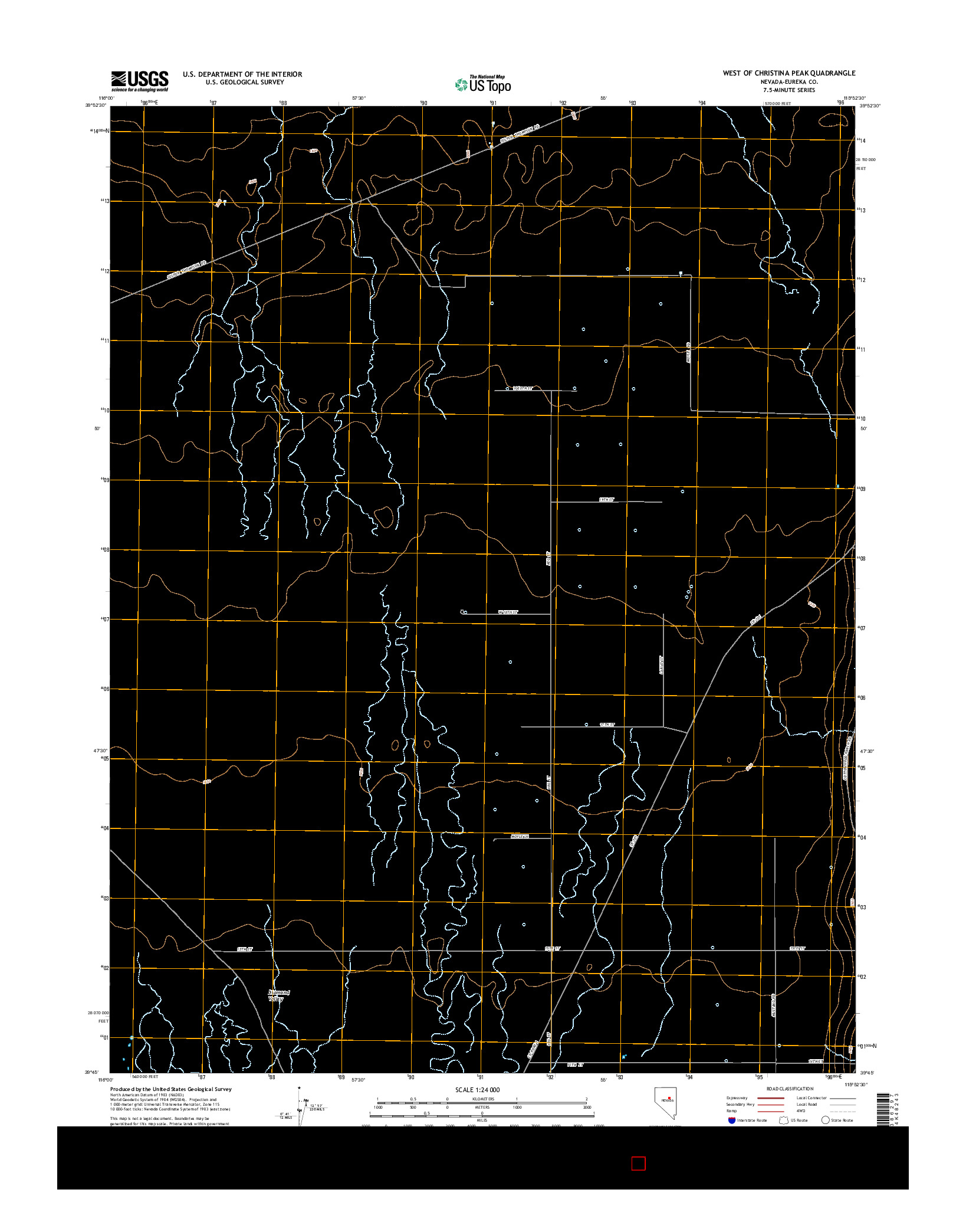 USGS US TOPO 7.5-MINUTE MAP FOR WEST OF CHRISTINA PEAK, NV 2014