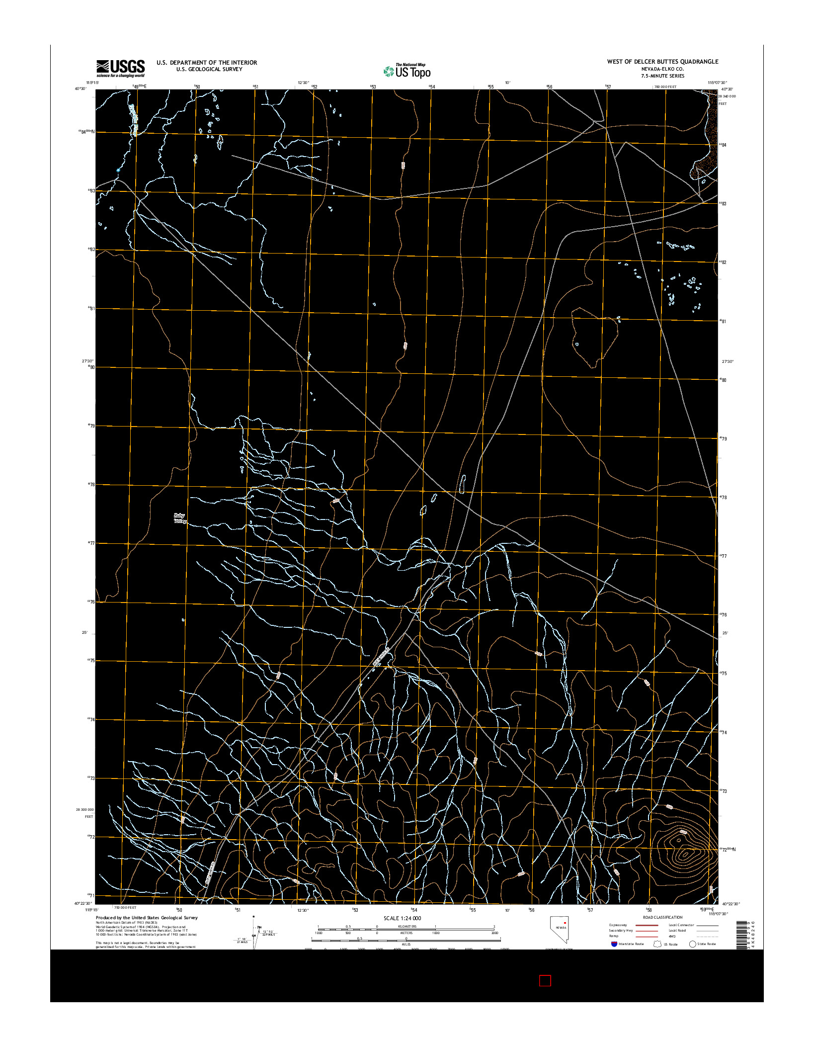 USGS US TOPO 7.5-MINUTE MAP FOR WEST OF DELCER BUTTES, NV 2014