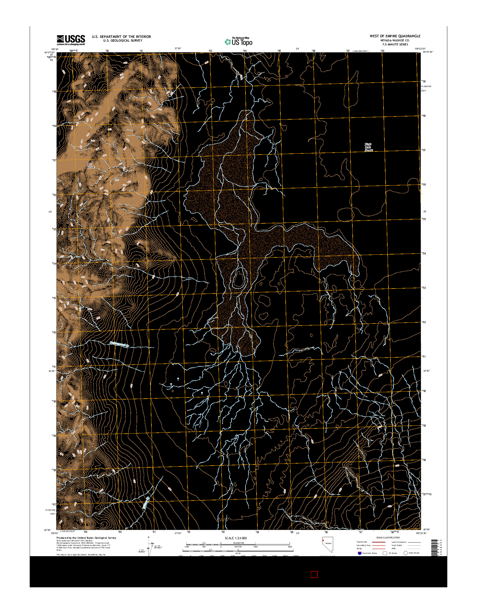 USGS US TOPO 7.5-MINUTE MAP FOR WEST OF EMPIRE, NV 2014