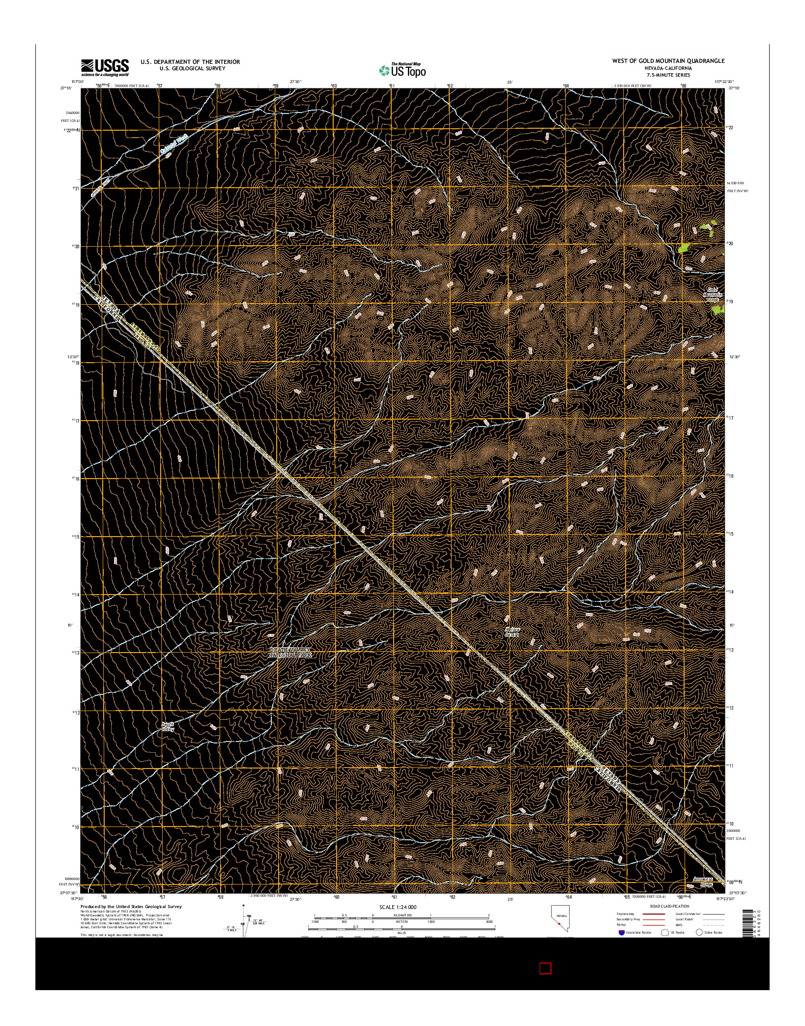USGS US TOPO 7.5-MINUTE MAP FOR WEST OF GOLD MOUNTAIN, NV-CA 2014