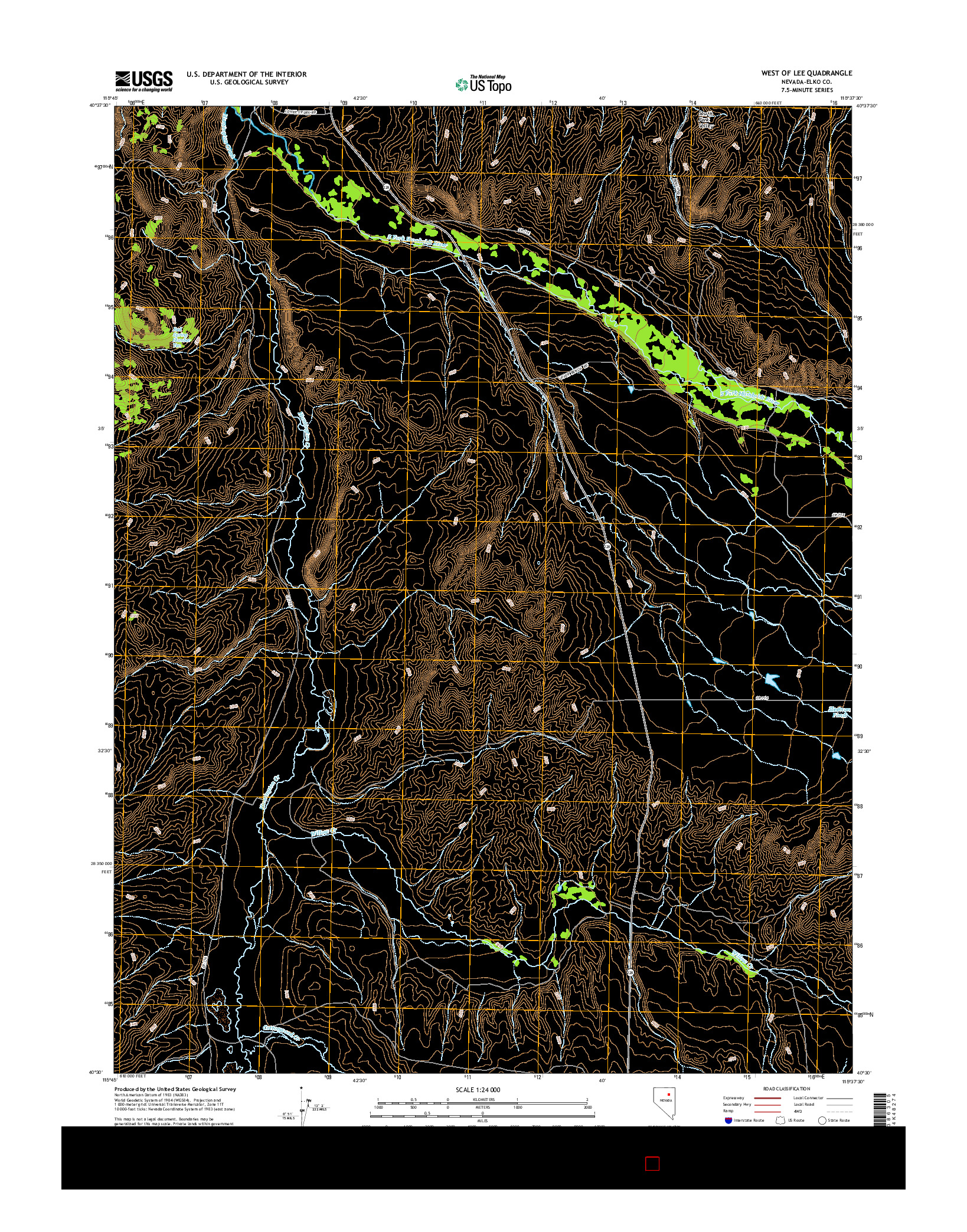 USGS US TOPO 7.5-MINUTE MAP FOR WEST OF LEE, NV 2014