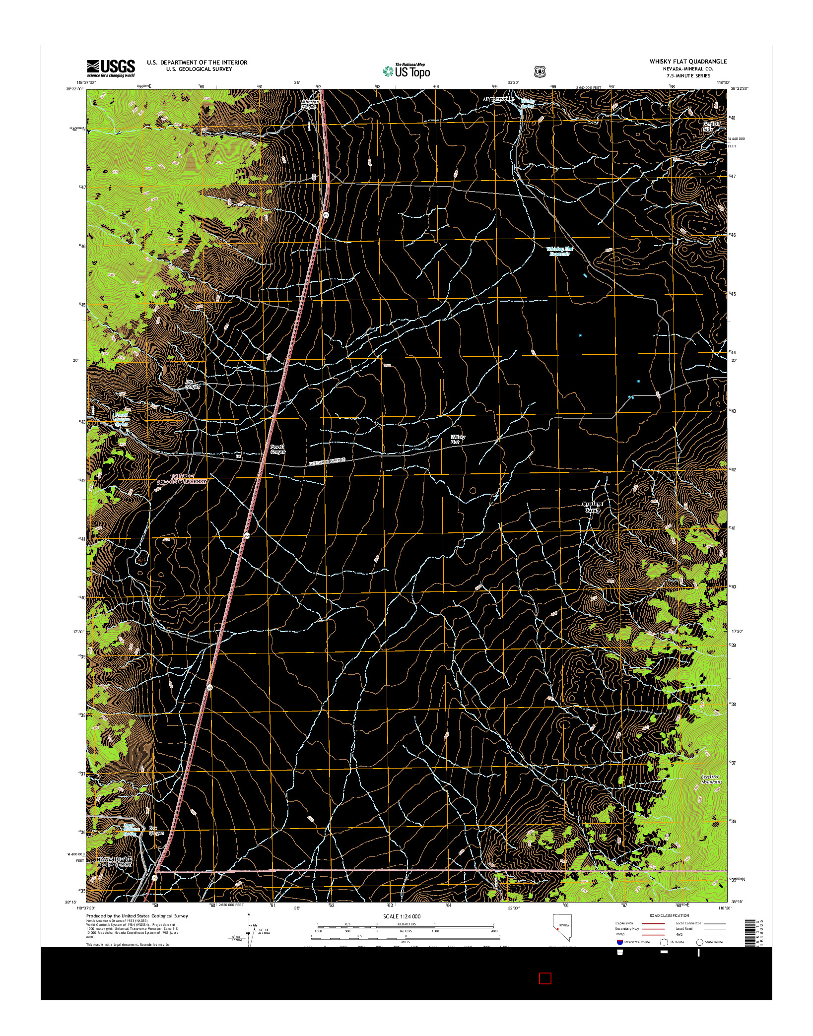 USGS US TOPO 7.5-MINUTE MAP FOR WHISKY FLAT, NV 2014