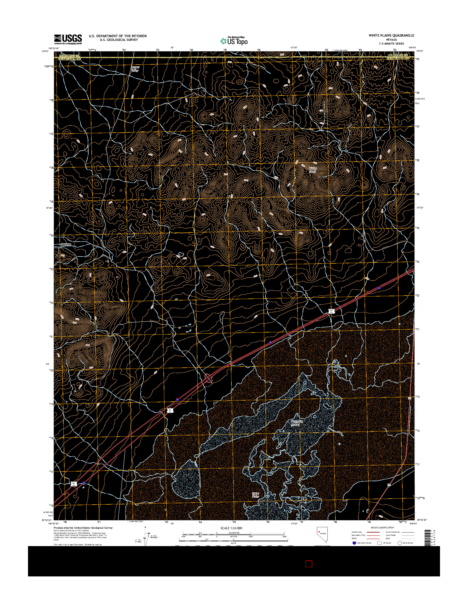 USGS US TOPO 7.5-MINUTE MAP FOR WHITE PLAINS, NV 2014