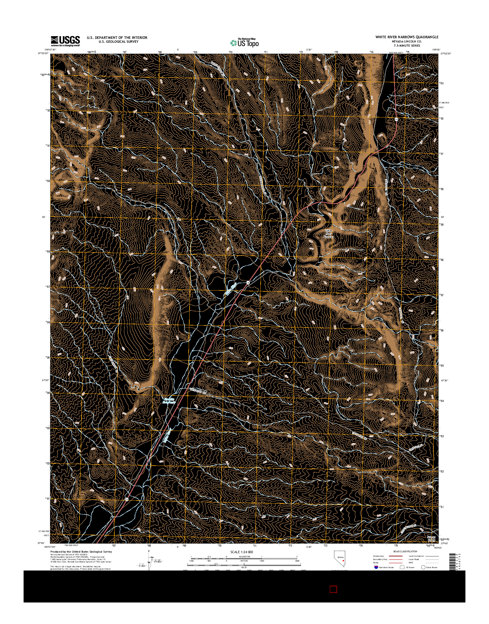 USGS US TOPO 7.5-MINUTE MAP FOR WHITE RIVER NARROWS, NV 2014