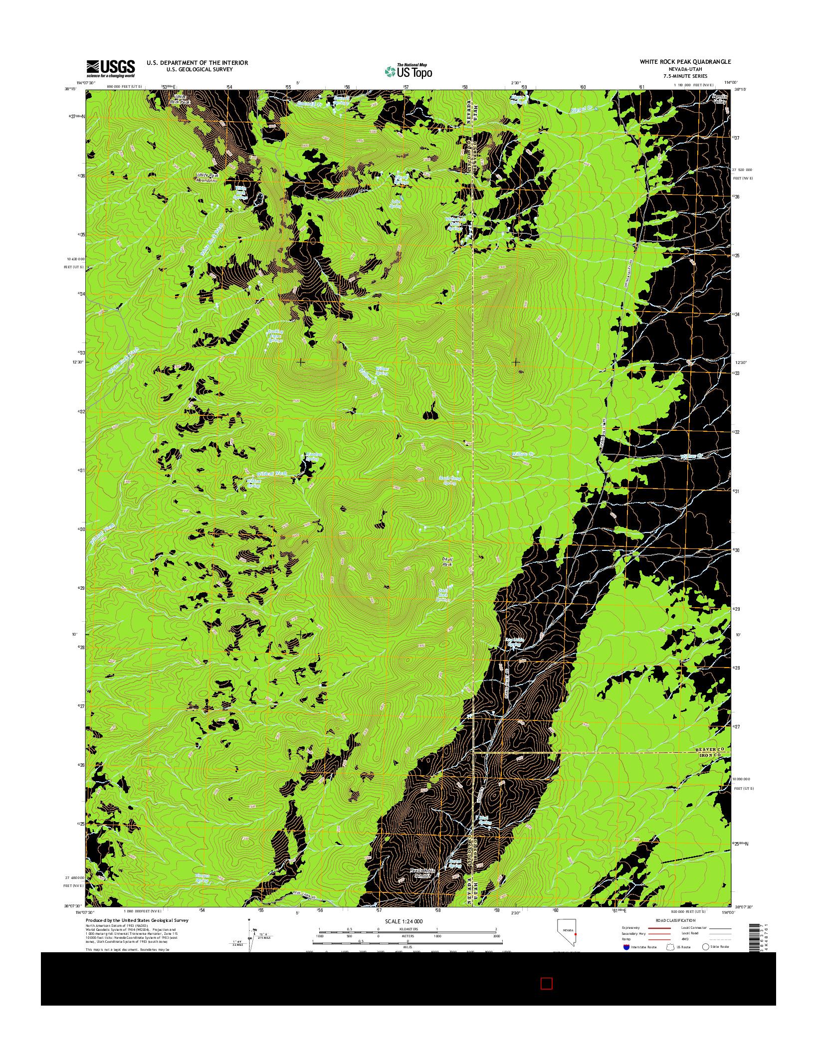 USGS US TOPO 7.5-MINUTE MAP FOR WHITE ROCK PEAK, NV-UT 2014