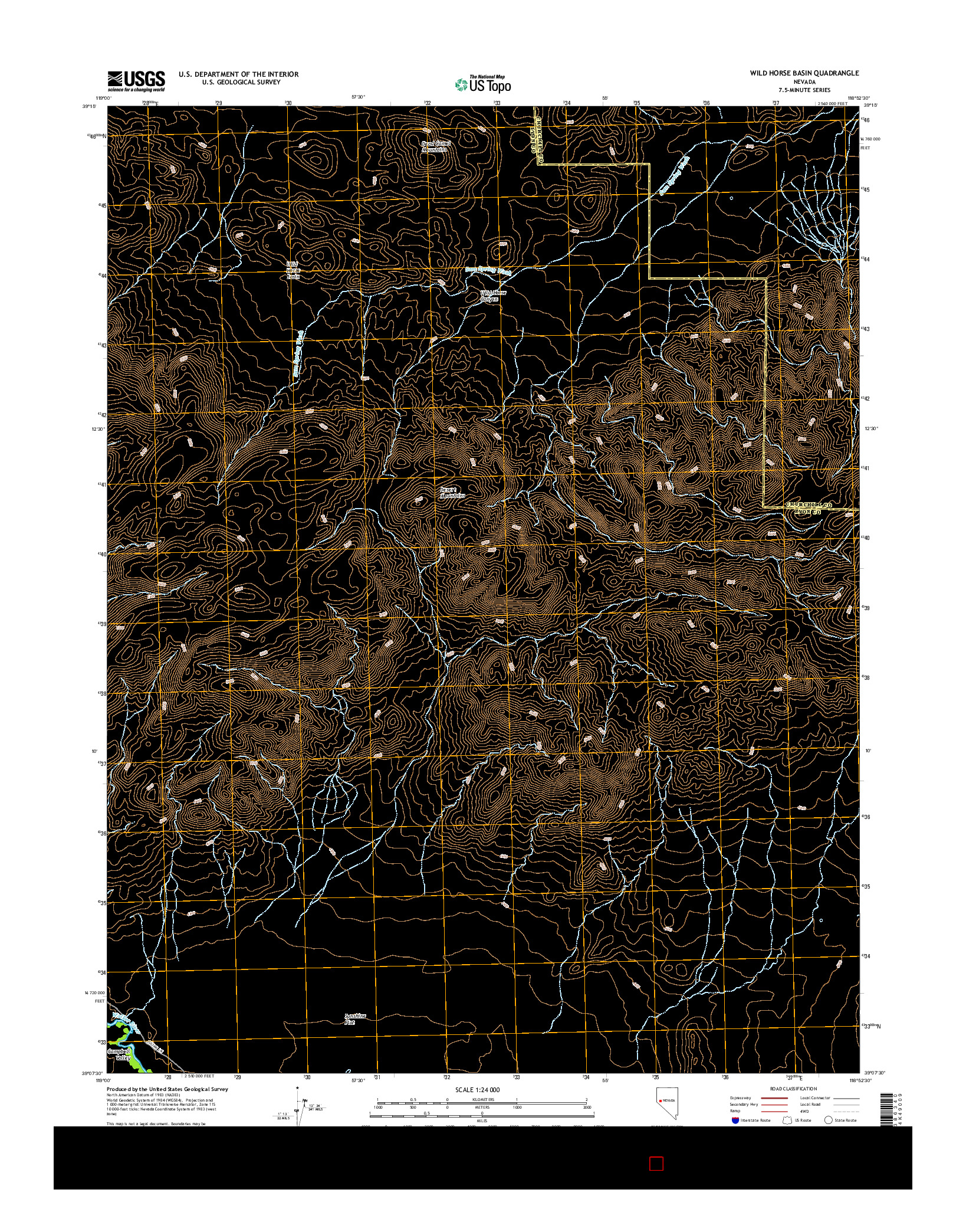 USGS US TOPO 7.5-MINUTE MAP FOR WILD HORSE BASIN, NV 2014