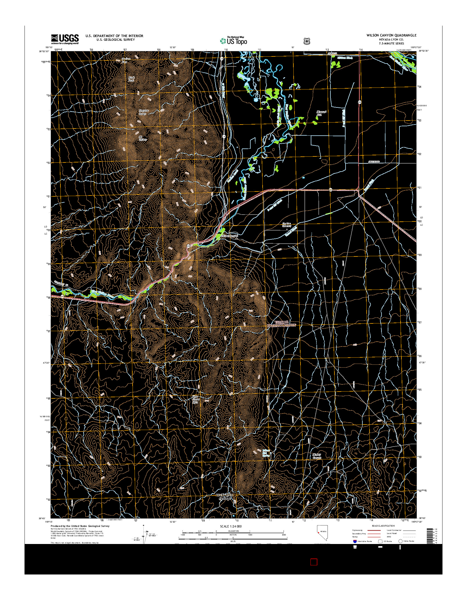 USGS US TOPO 7.5-MINUTE MAP FOR WILSON CANYON, NV 2014