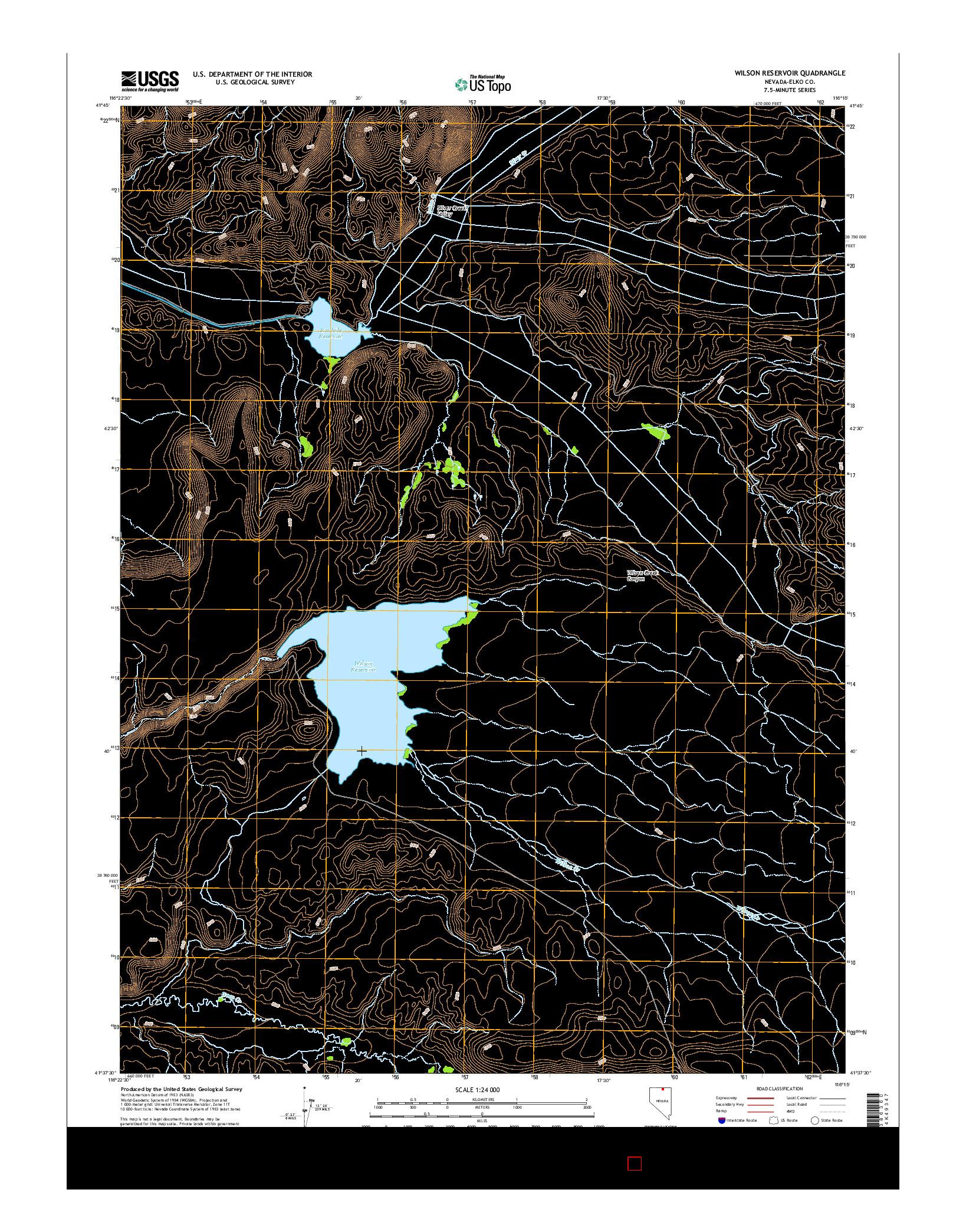 USGS US TOPO 7.5-MINUTE MAP FOR WILSON RESERVOIR, NV 2014