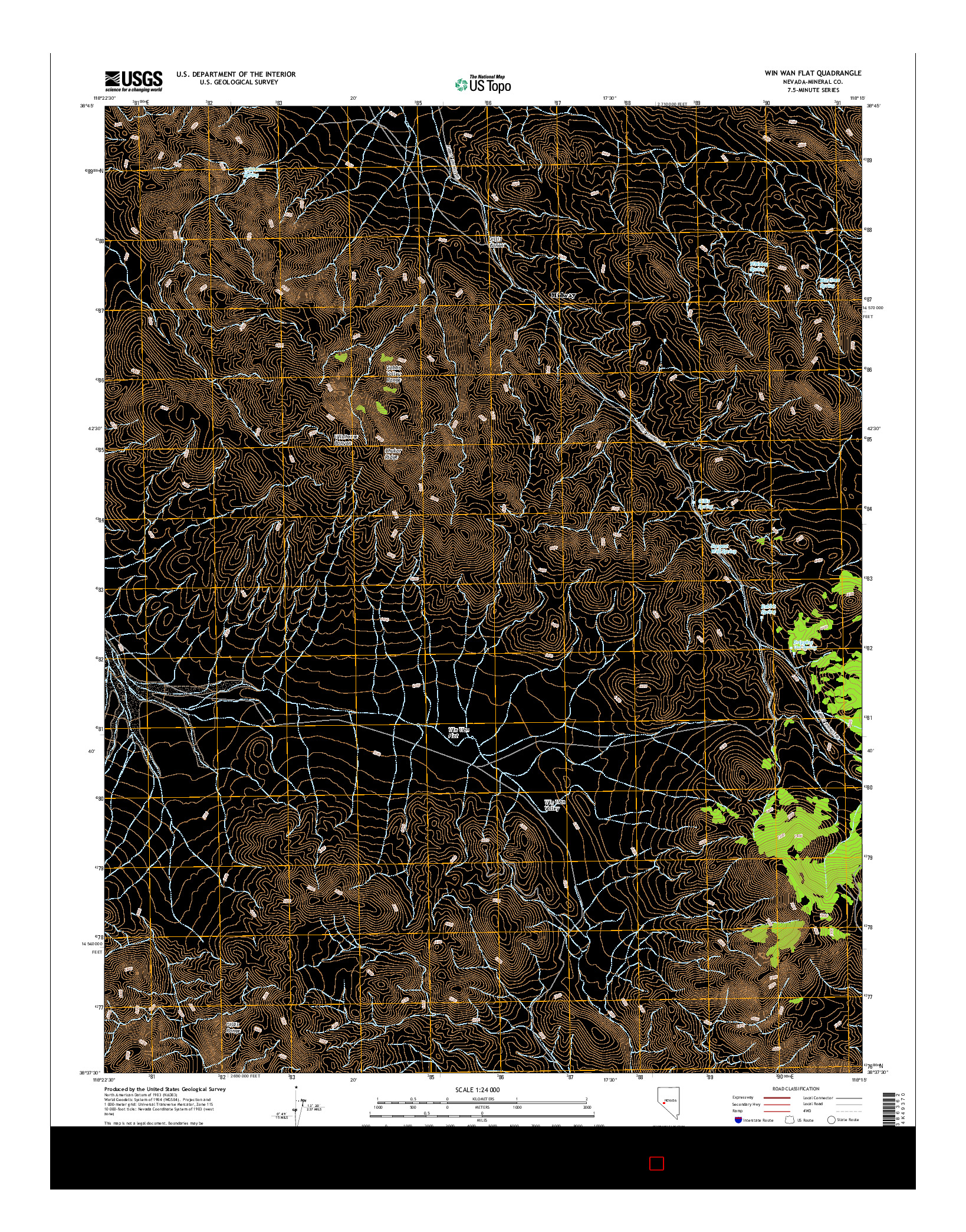 USGS US TOPO 7.5-MINUTE MAP FOR WIN WAN FLAT, NV 2014