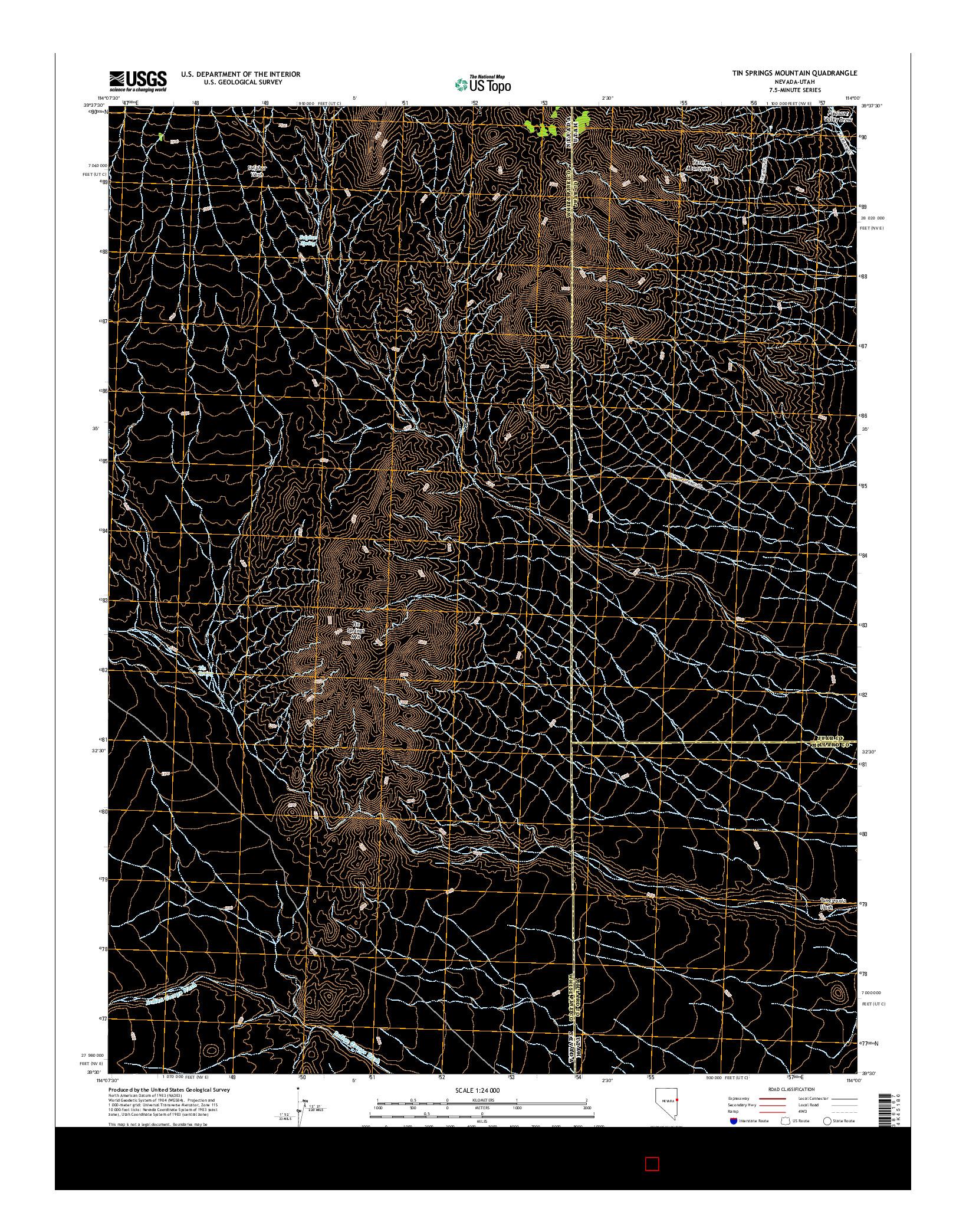 USGS US TOPO 7.5-MINUTE MAP FOR TIN SPRINGS MOUNTAIN, NV-UT 2014
