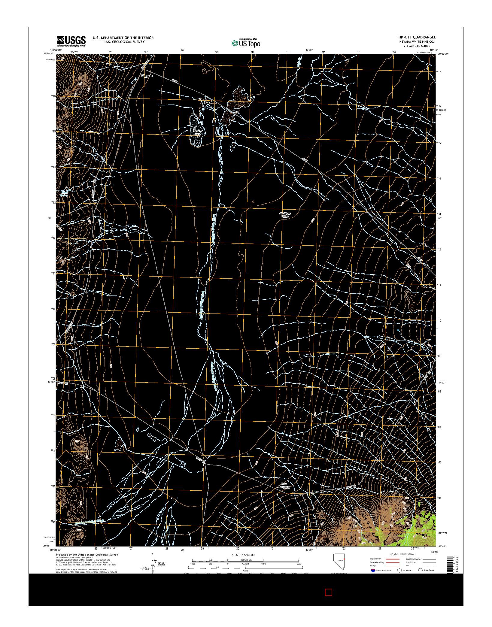 USGS US TOPO 7.5-MINUTE MAP FOR TIPPETT, NV 2014