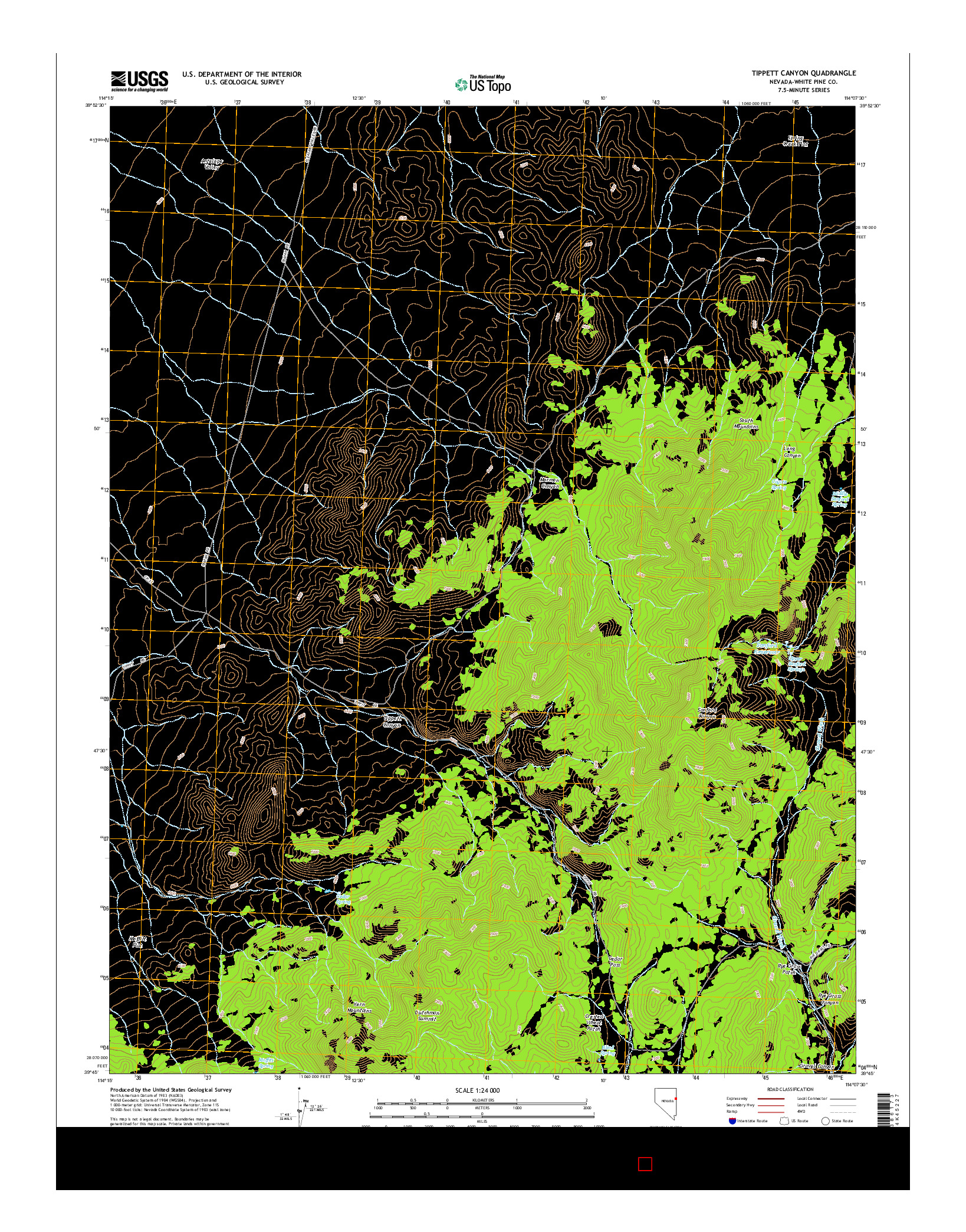 USGS US TOPO 7.5-MINUTE MAP FOR TIPPETT CANYON, NV 2014