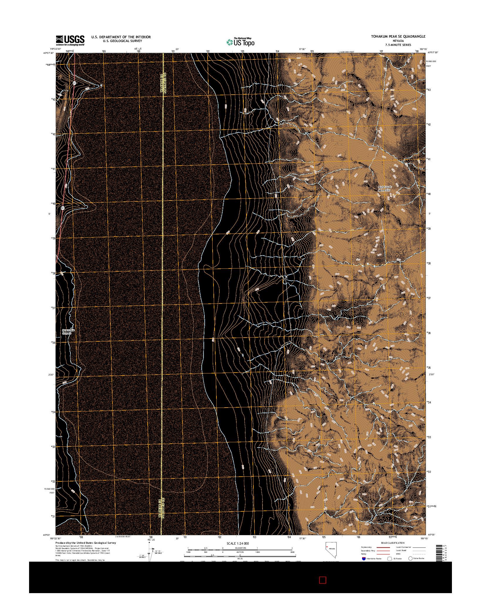 USGS US TOPO 7.5-MINUTE MAP FOR TOHAKUM PEAK SE, NV 2014