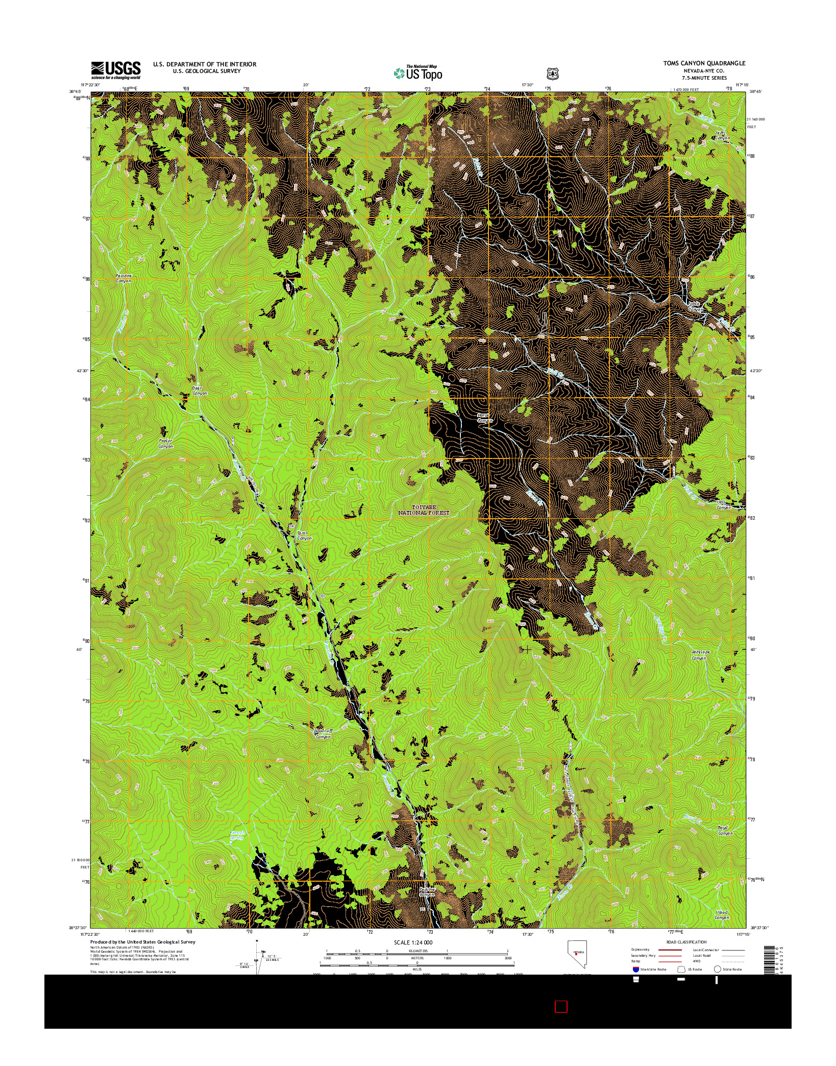 USGS US TOPO 7.5-MINUTE MAP FOR TOMS CANYON, NV 2014