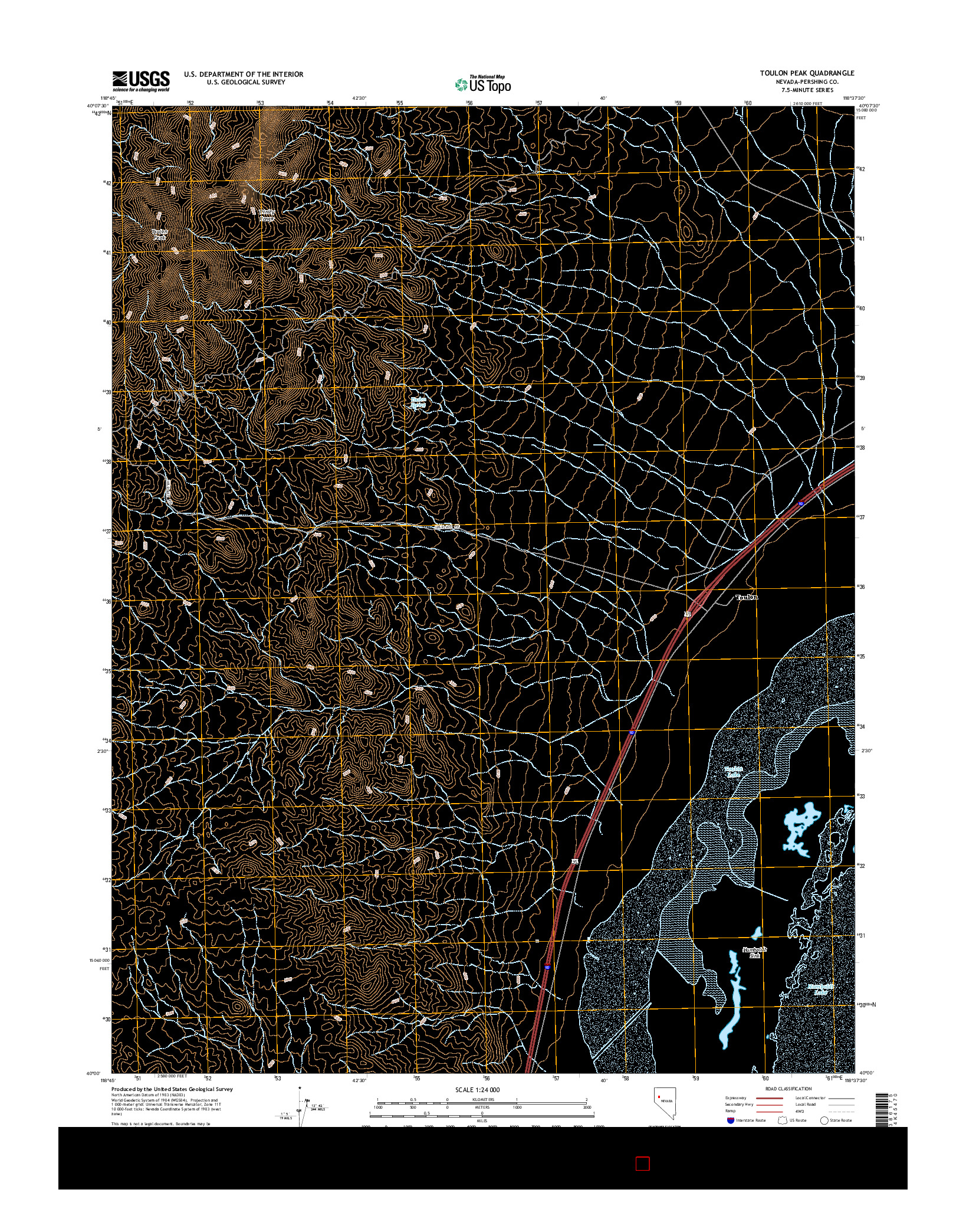 USGS US TOPO 7.5-MINUTE MAP FOR TOULON PEAK, NV 2014