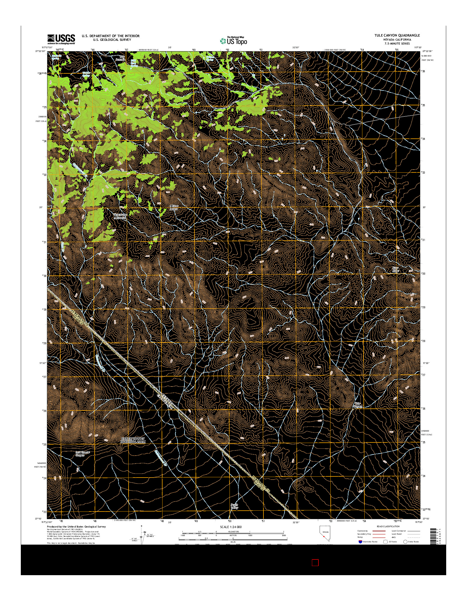 USGS US TOPO 7.5-MINUTE MAP FOR TULE CANYON, NV-CA 2014
