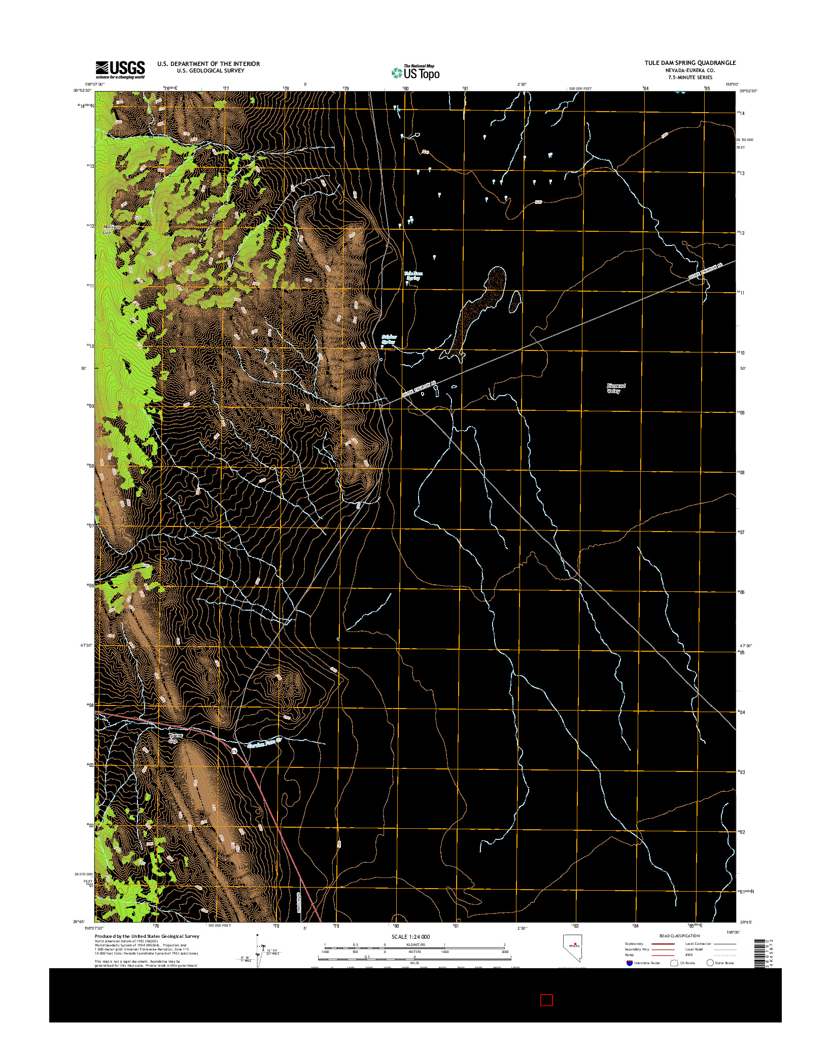 USGS US TOPO 7.5-MINUTE MAP FOR TULE DAM SPRING, NV 2014