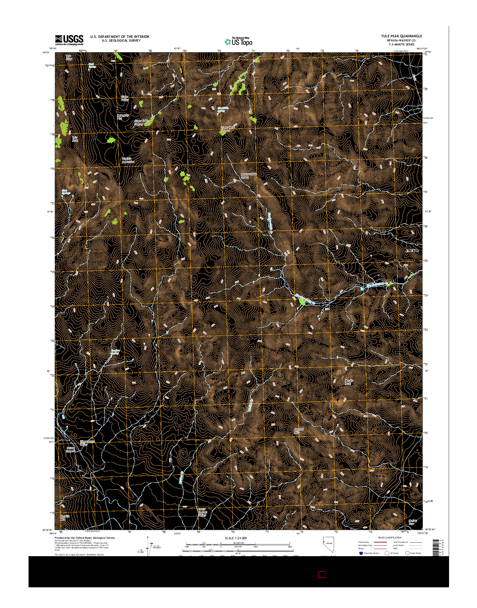 USGS US TOPO 7.5-MINUTE MAP FOR TULE PEAK, NV 2014
