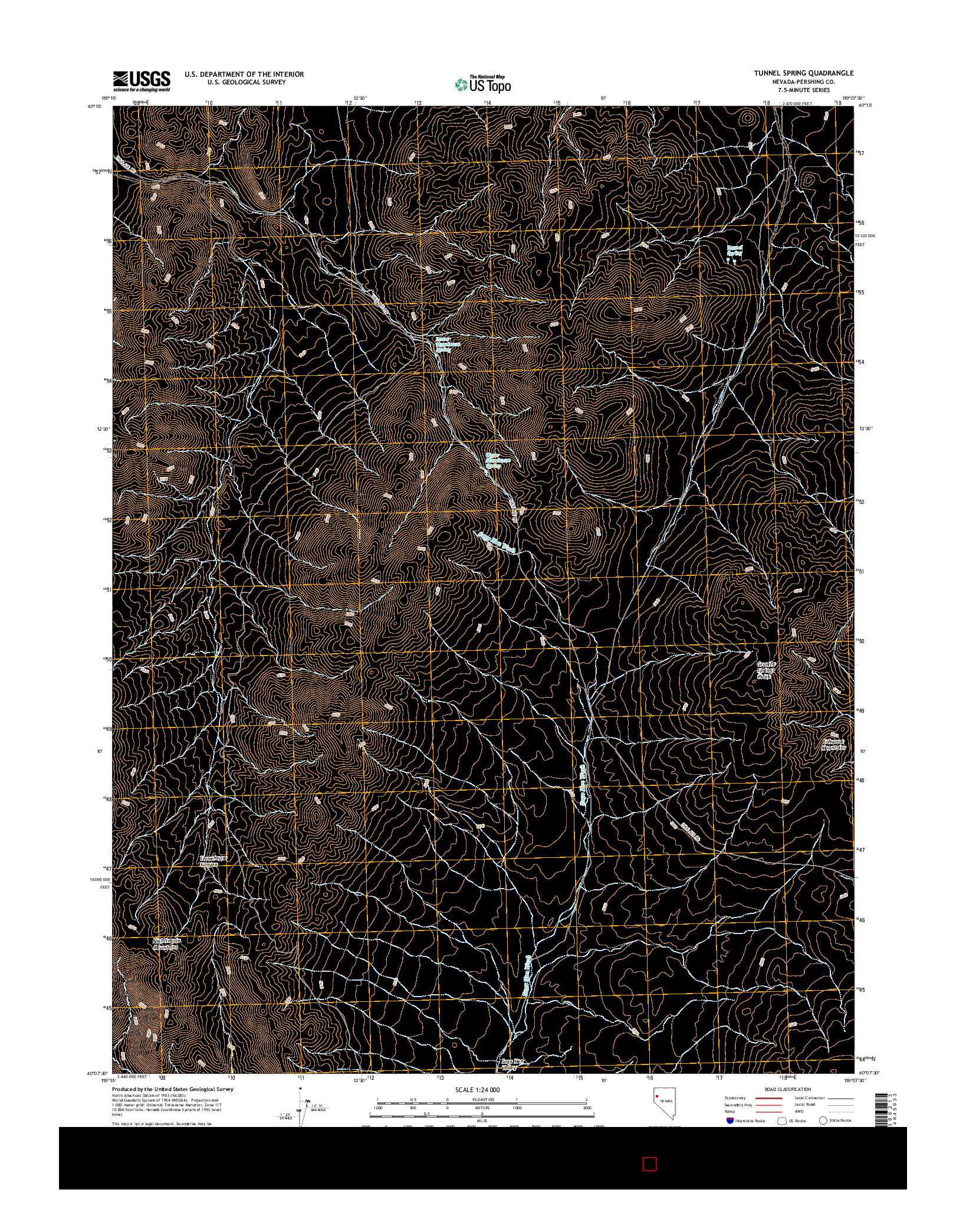 USGS US TOPO 7.5-MINUTE MAP FOR TUNNEL SPRING, NV 2014
