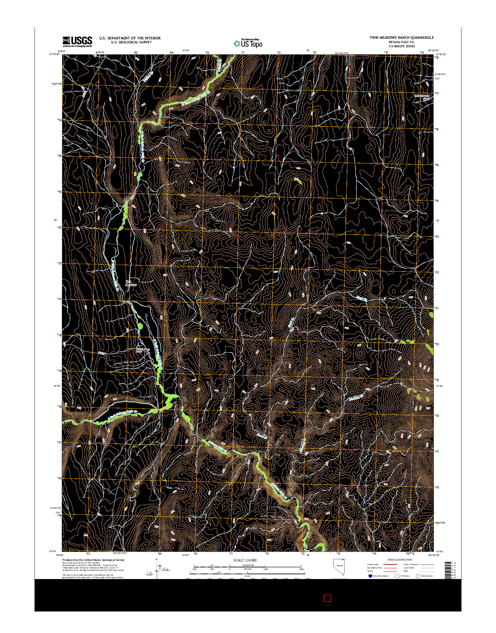 USGS US TOPO 7.5-MINUTE MAP FOR TWIN MEADOWS RANCH, NV 2014