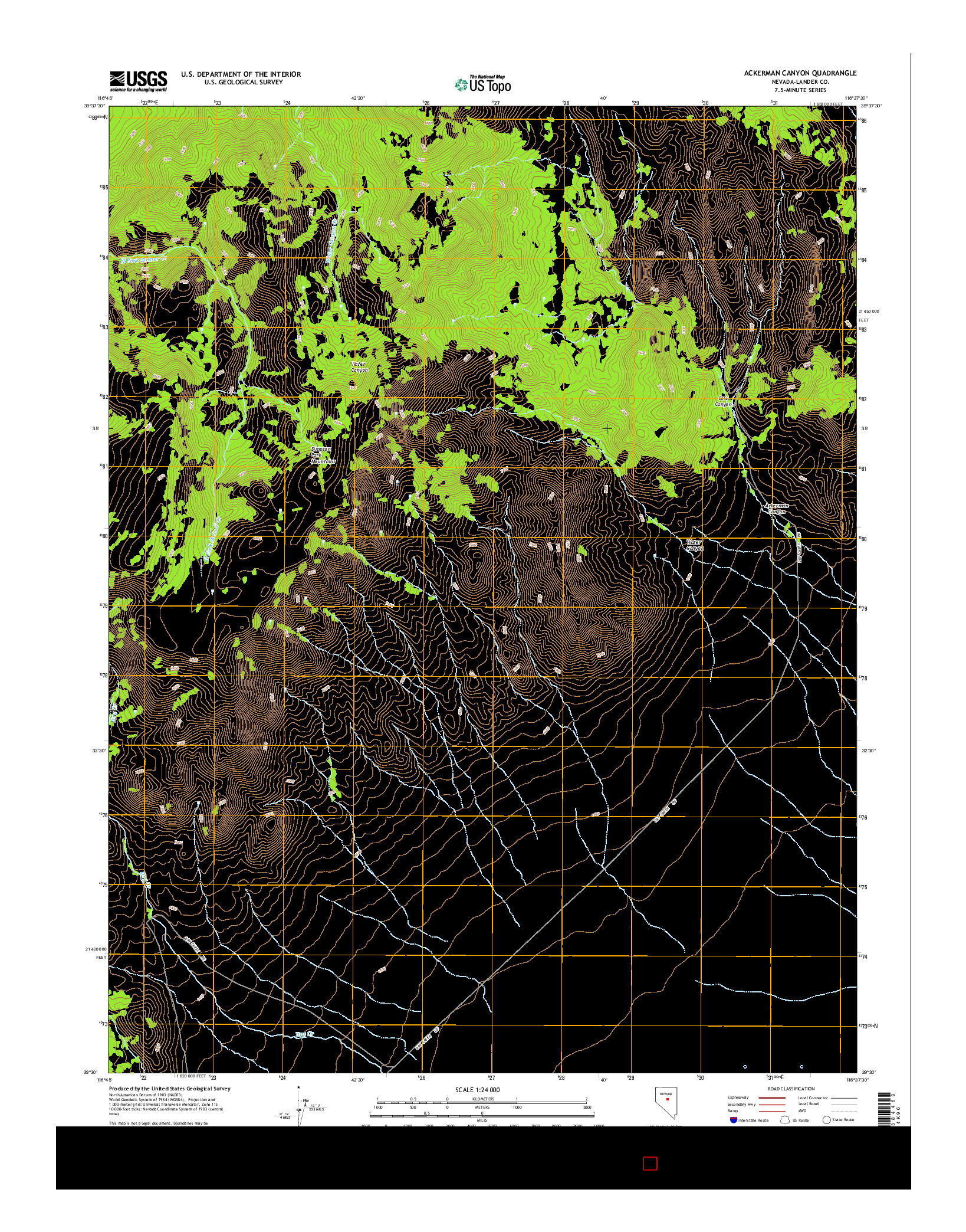 USGS US TOPO 7.5-MINUTE MAP FOR ACKERMAN CANYON, NV 2014