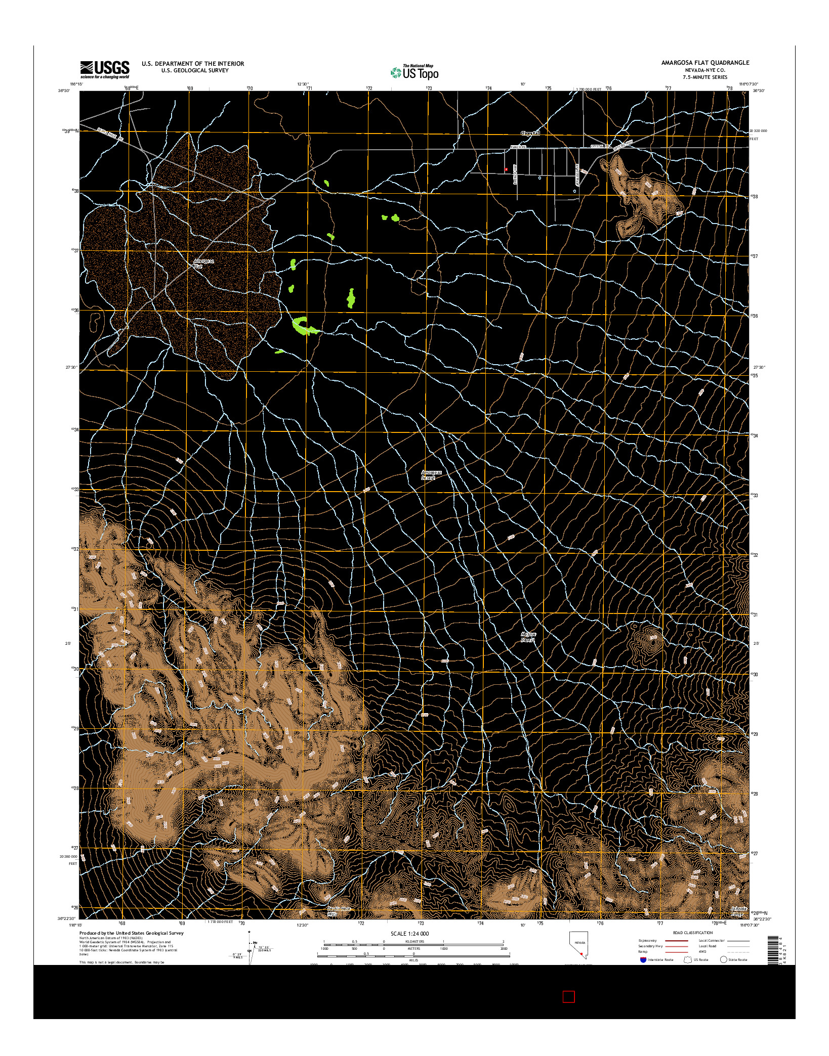 USGS US TOPO 7.5-MINUTE MAP FOR AMARGOSA FLAT, NV 2014