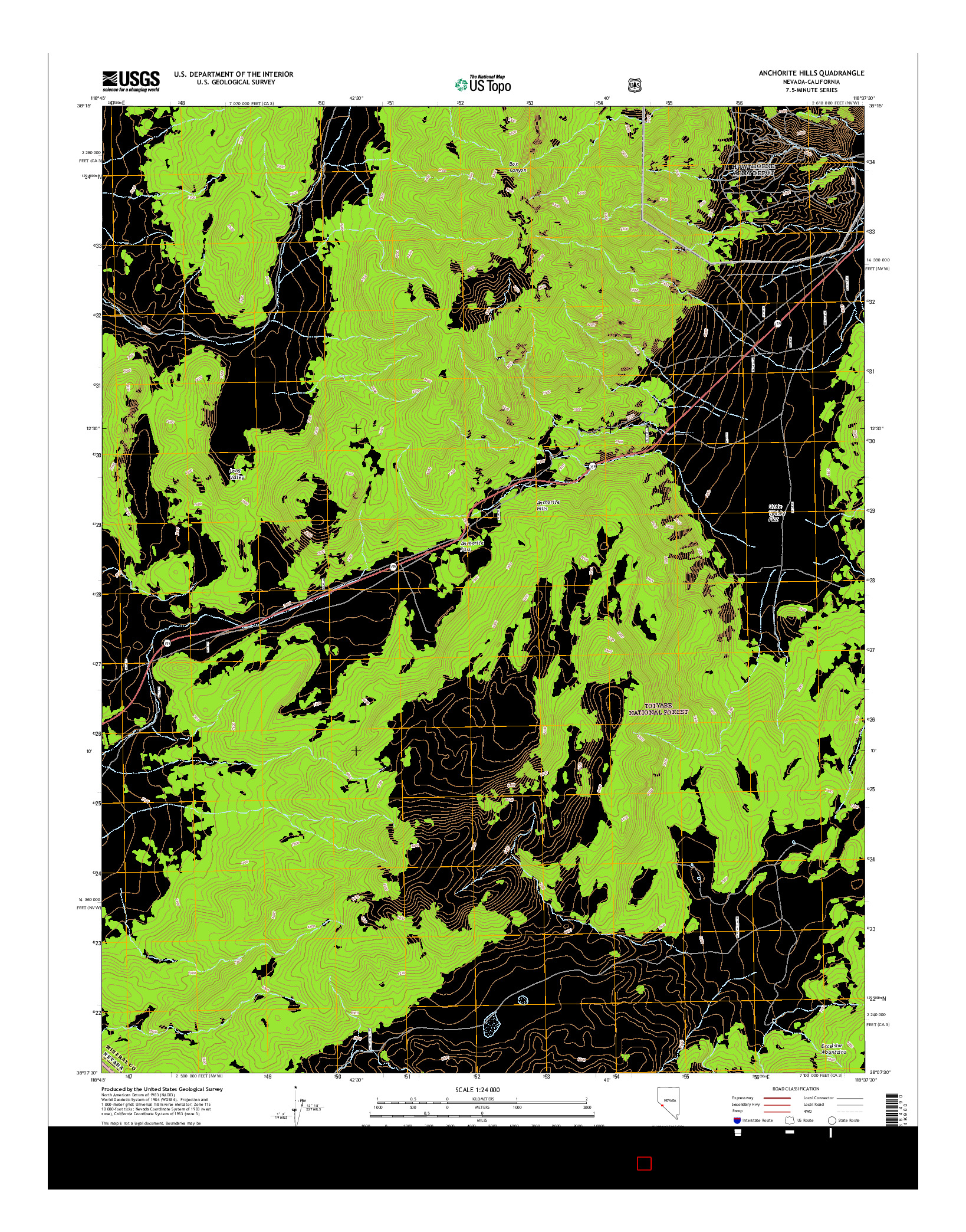 USGS US TOPO 7.5-MINUTE MAP FOR ANCHORITE HILLS, NV-CA 2014