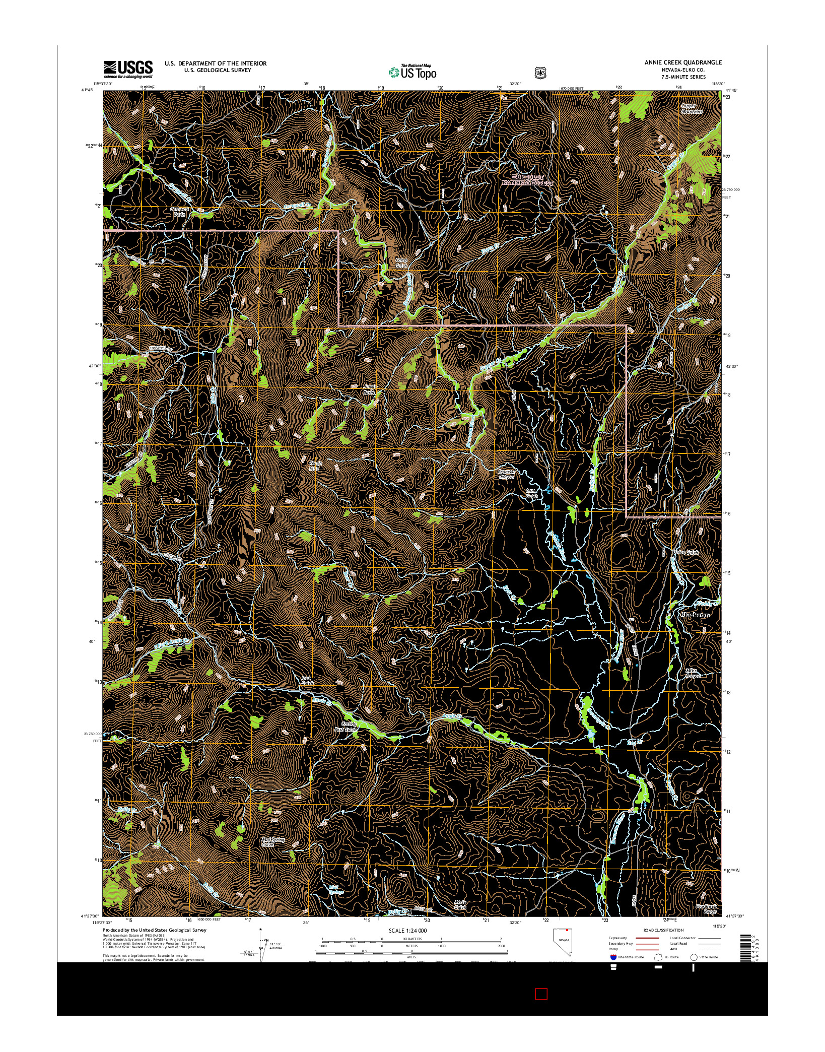 USGS US TOPO 7.5-MINUTE MAP FOR ANNIE CREEK, NV 2014